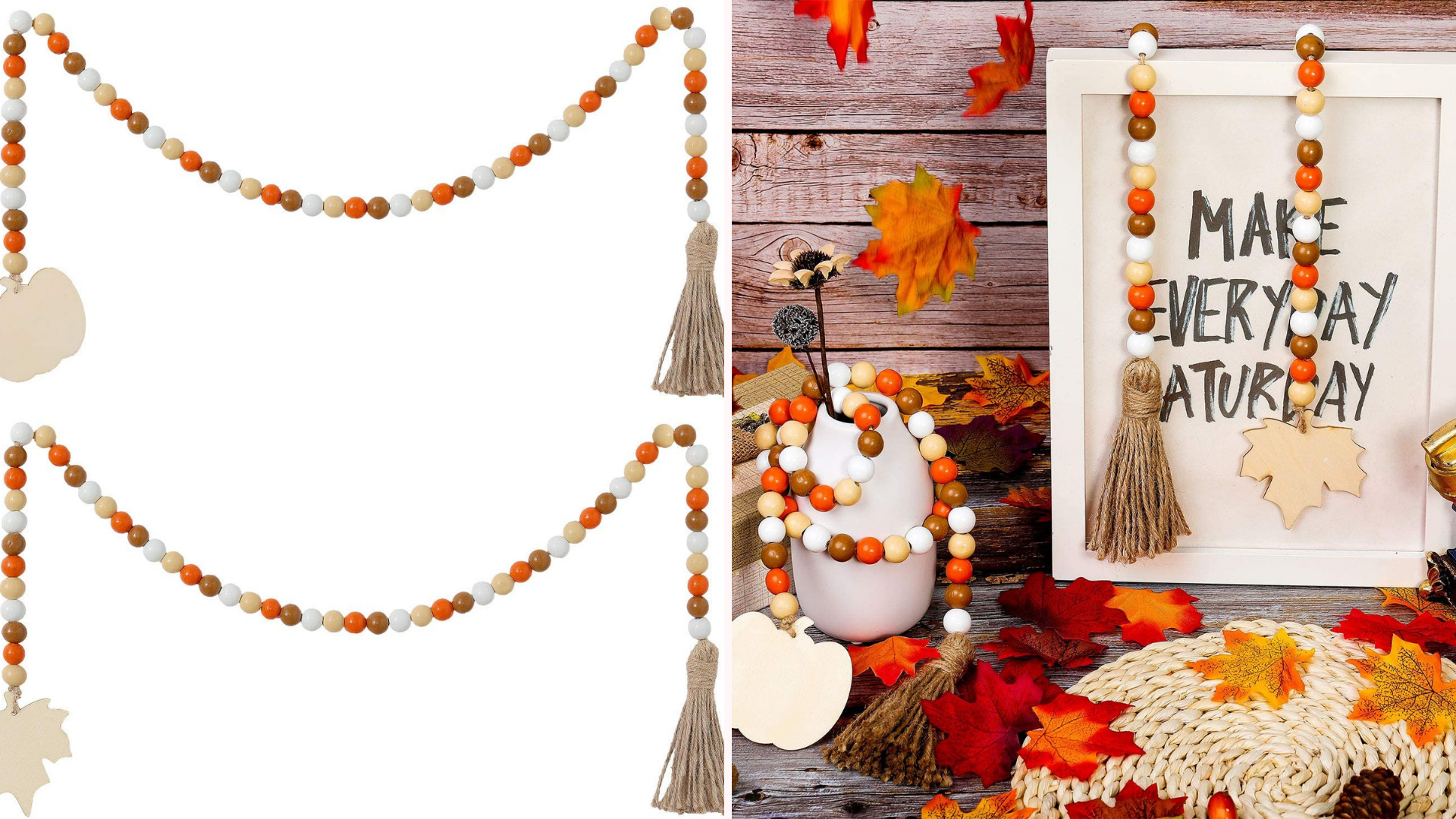 A beaded garland is draped over a picture frame and pumpkins.