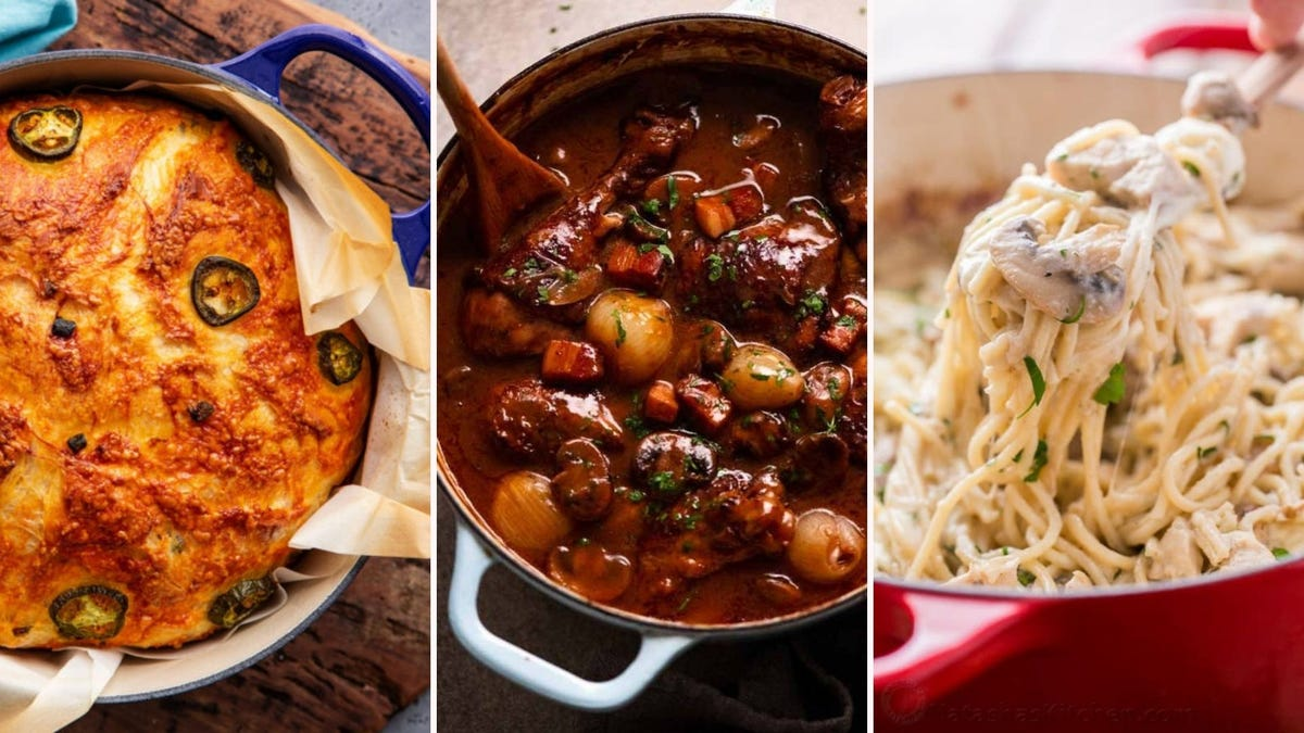 Three images of recipes displayed in the article below including jalapeno cheddar bread by The Chunky Chef, Coq au Vin by RecipeTin Eats and Chicken Tetrazzini by Natasha's Kitchen.
