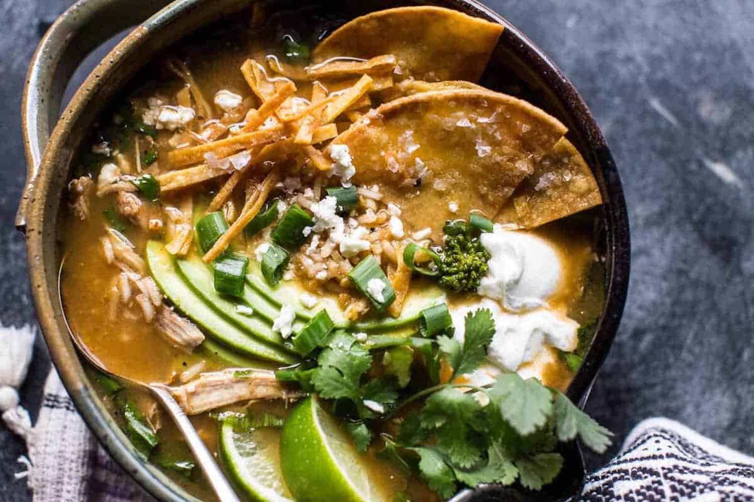A bowl of chicken green chile tortilla soup