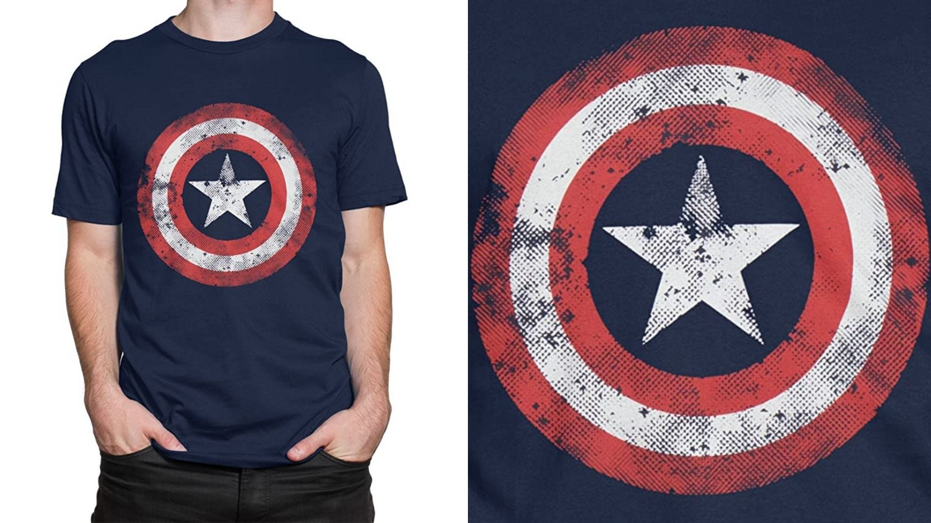 A man wears a t-shirt with Captain America's shield on the front
