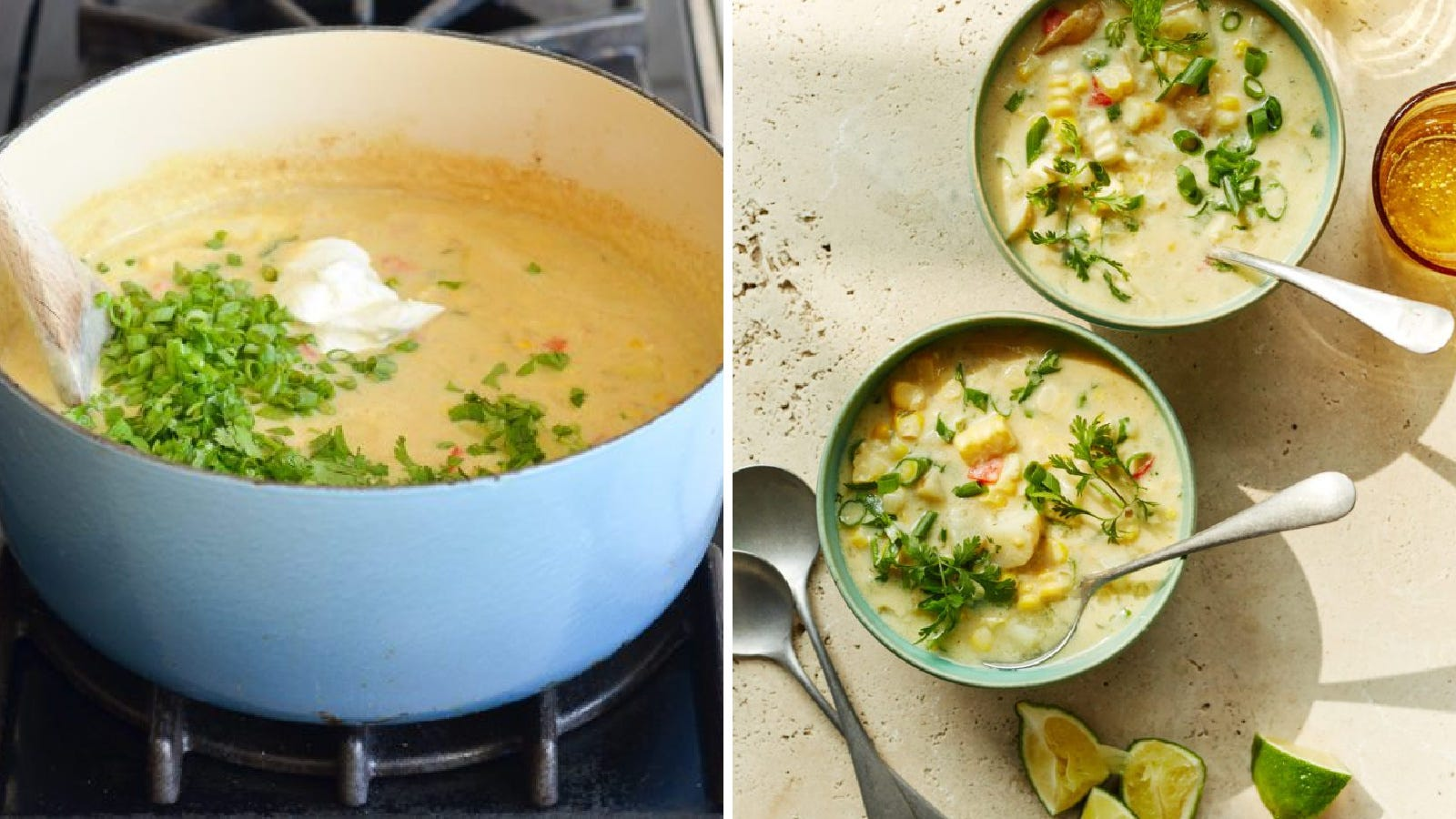 Two images displaying corn chowder made in an enameled Dutch oven by Once Upon a Chef.