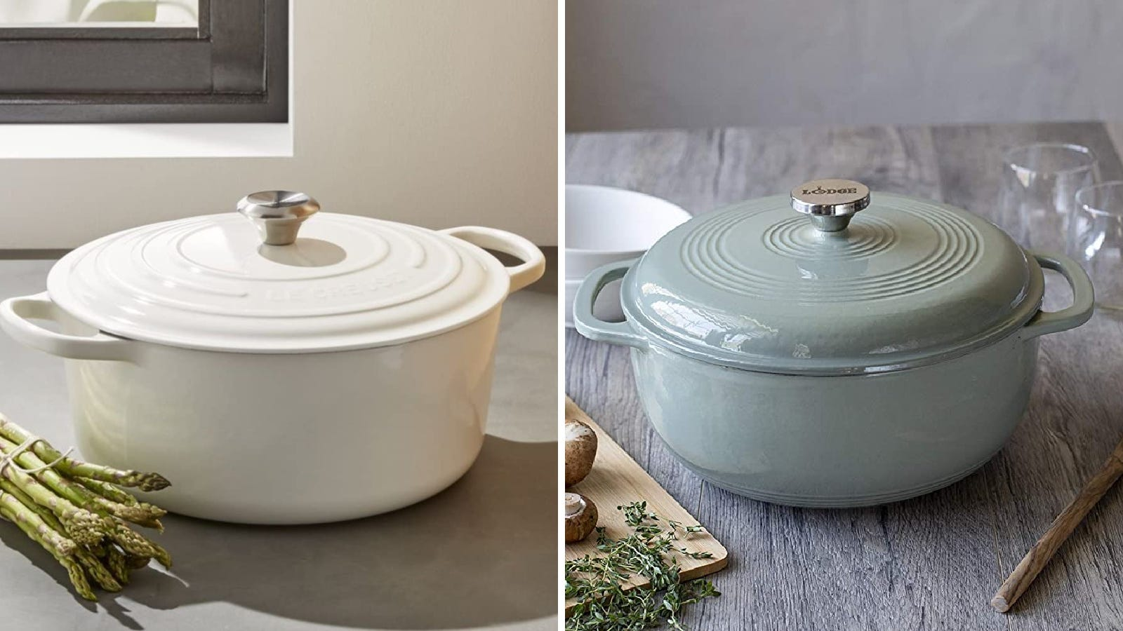 Two images of Dutch ovens: the left is by Le Creuset, and the right is by Lodge.
