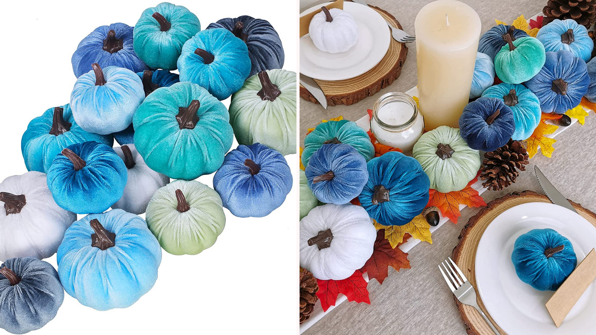 Blue and green colored pumpkins sit in the middle of a table.
