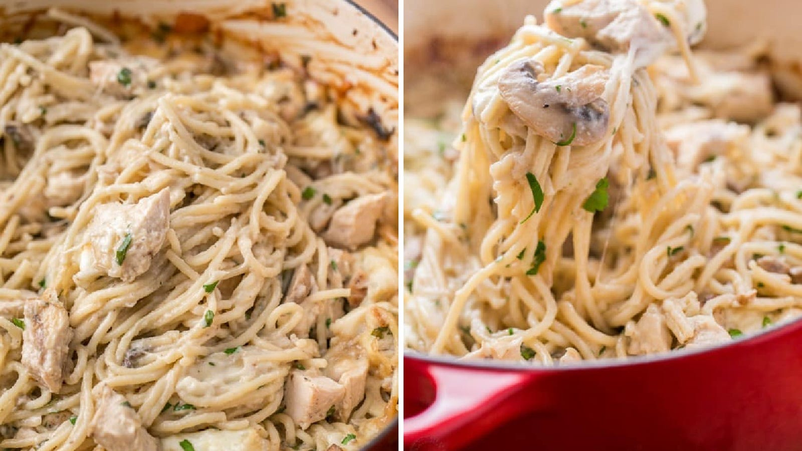 Two images displaying Chicken Tetrazzini made by Natasha's Kitchen in a red Dutch Oven.