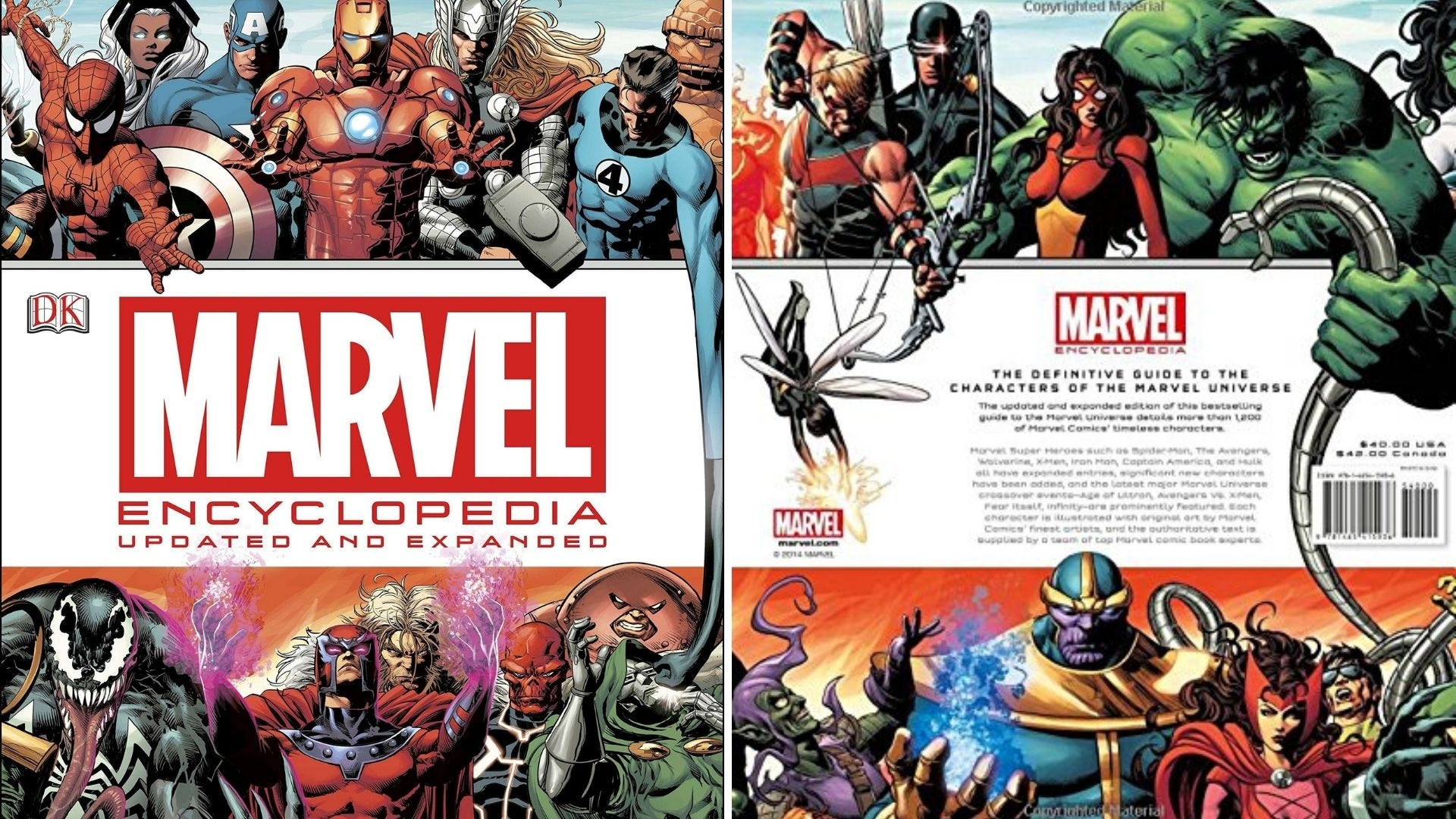 The front and back cover of Marvel Encyclopedia