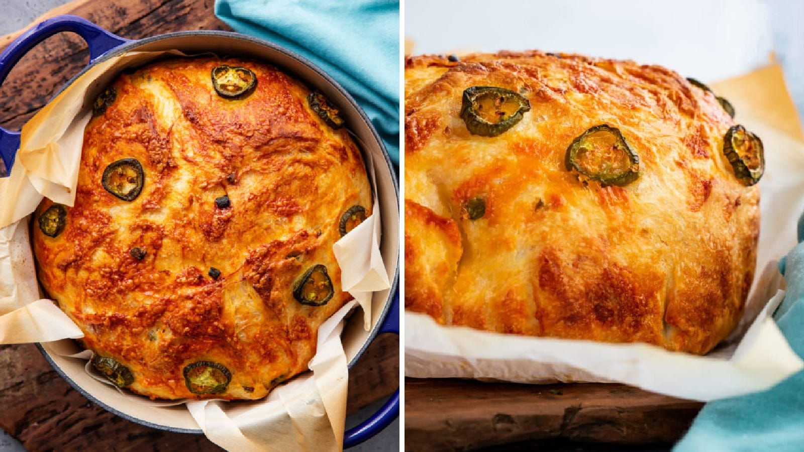 Two images of Jalapeno cheddar bread made in a Dutch oven by The Chunky Chef.
