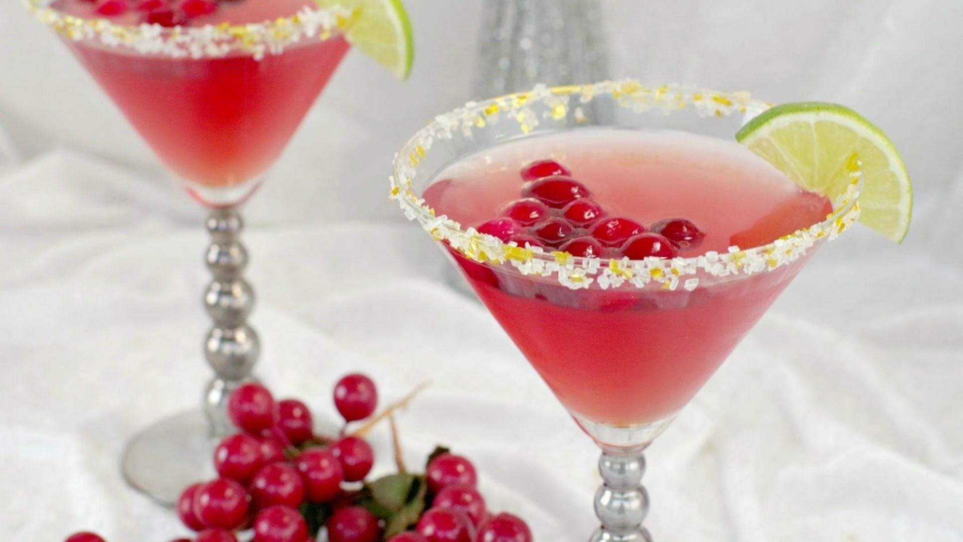 Martini glasses holding non-alcoholic Cosmopolitans