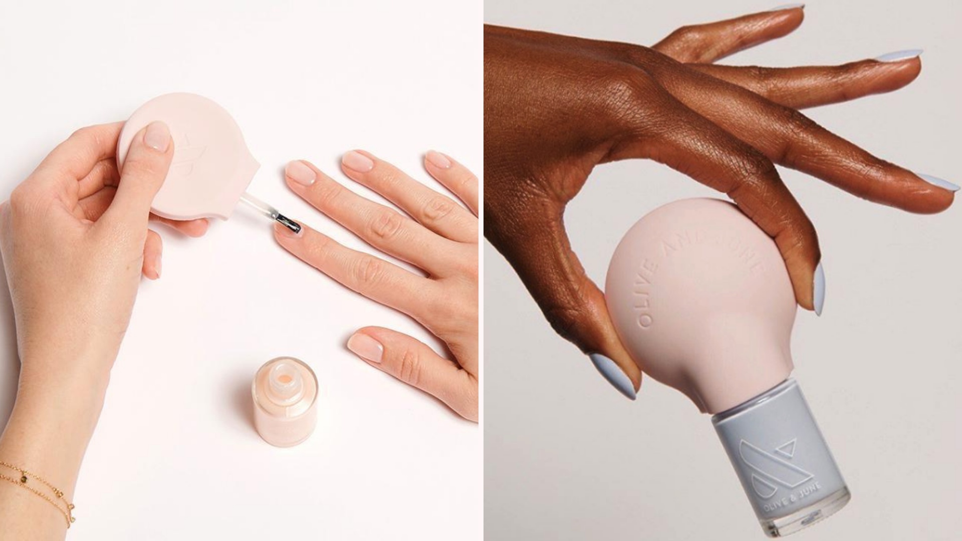 two people paint their nails with a rounded brush.