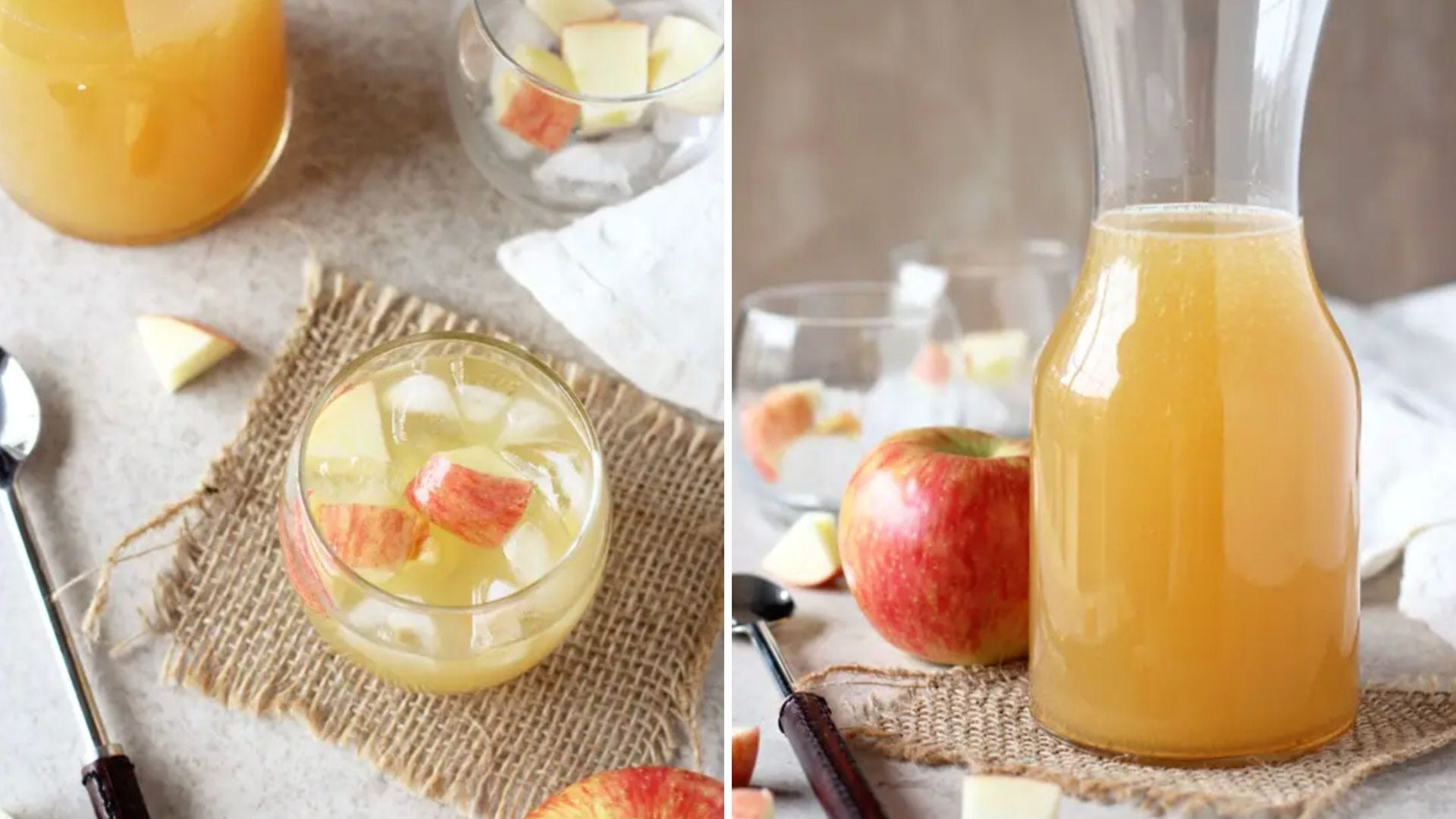 A glass with a yellow drink and apple chunks in it and a pitcher holding the same drink