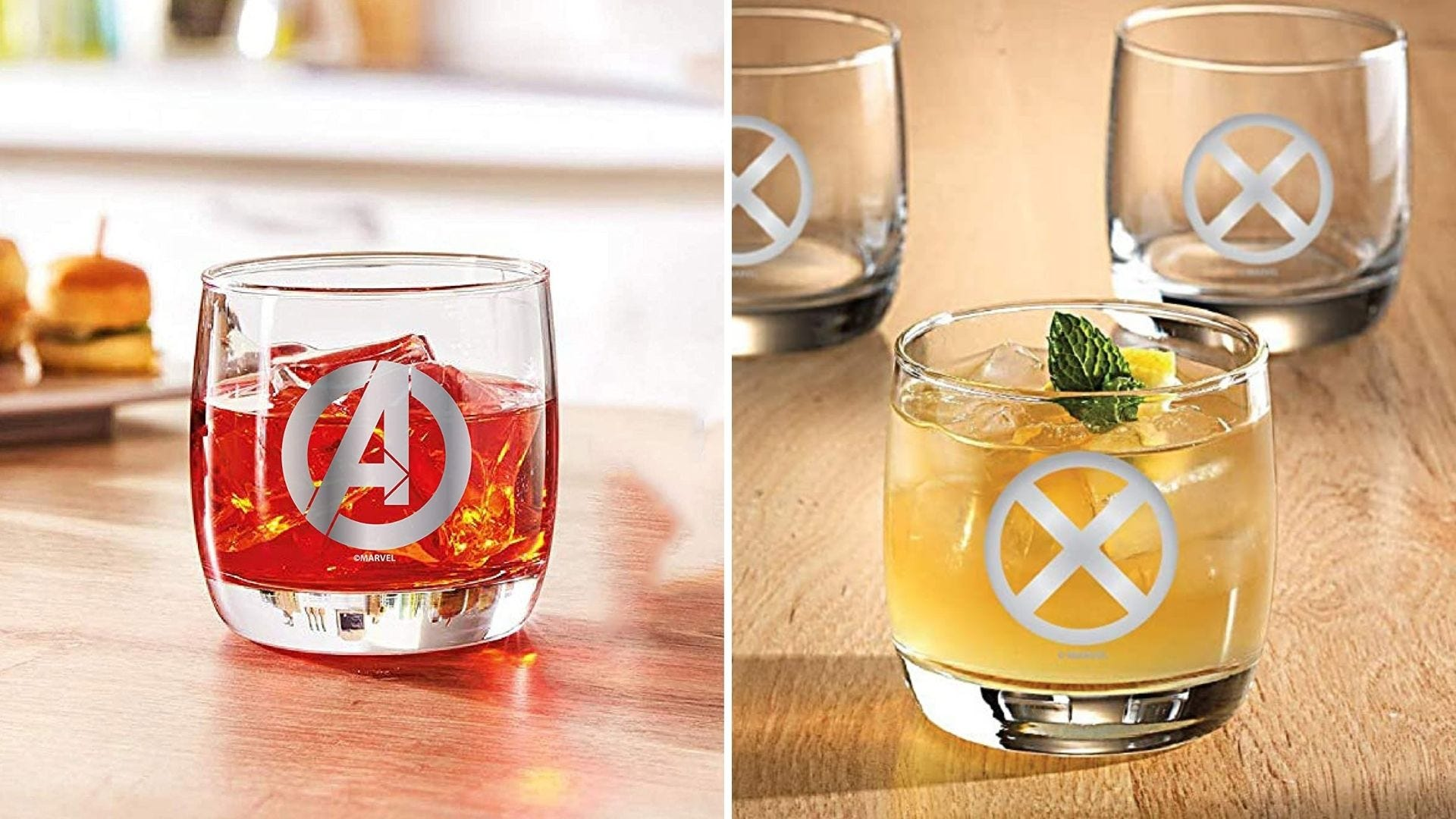 Two glasses with Marvel logos etched on them