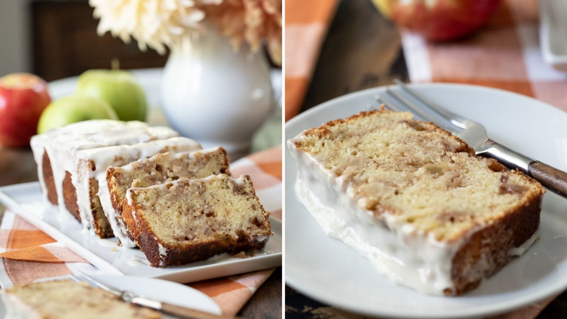 Slices of frosted apple cinnamon loaf