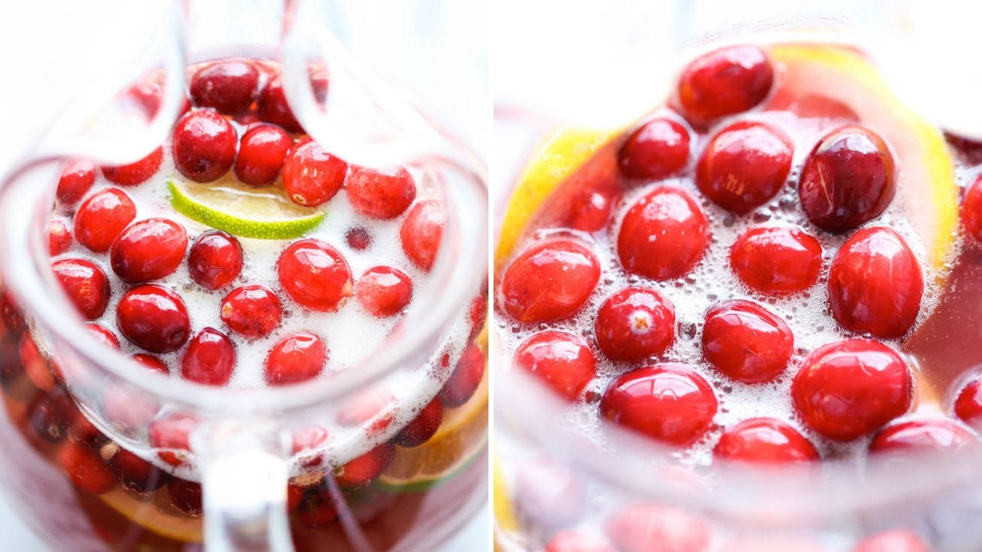 A pitcher full of a sparkling drink with fresh cranberries floating on top