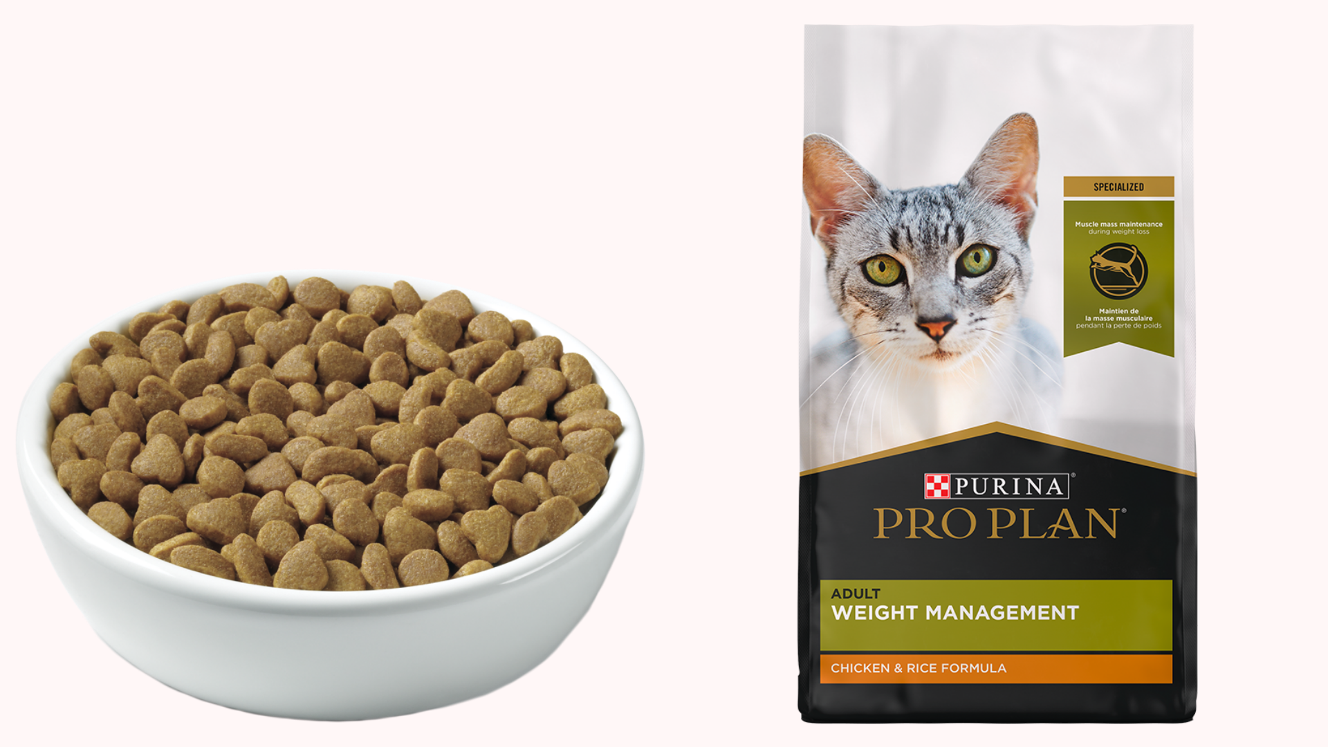 A bowl of cat food sits next to the packaging.