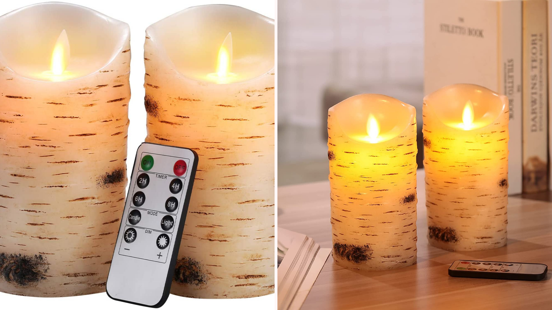 Two faux candles are lit up on a wooden table.