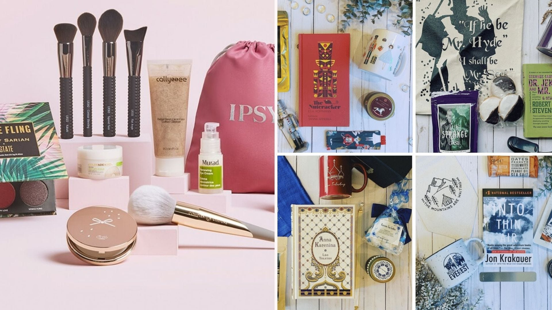 A makeup kit against a pink background; flatlays of book subscription kits