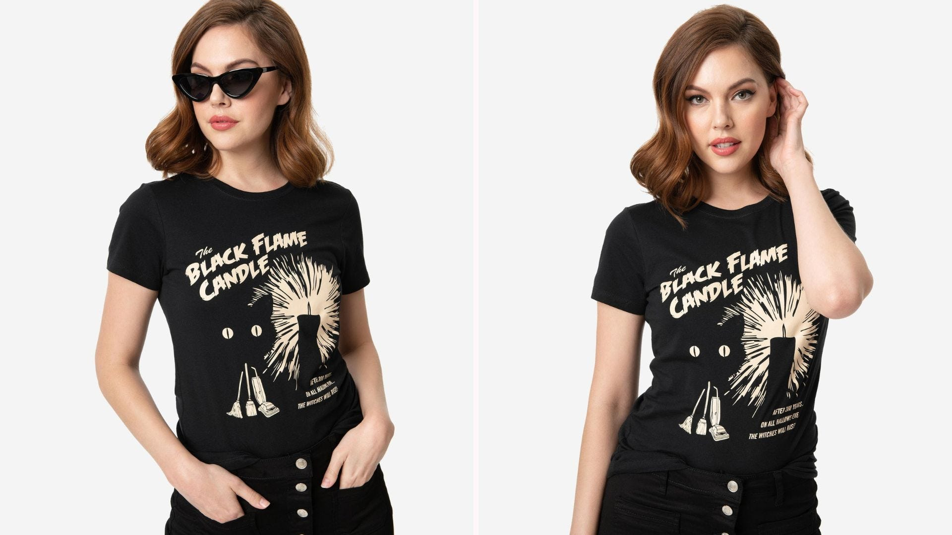 """Two angles of a woman wearing a black T-shirt with """"The Black Flame Candle"""" graphic design"""