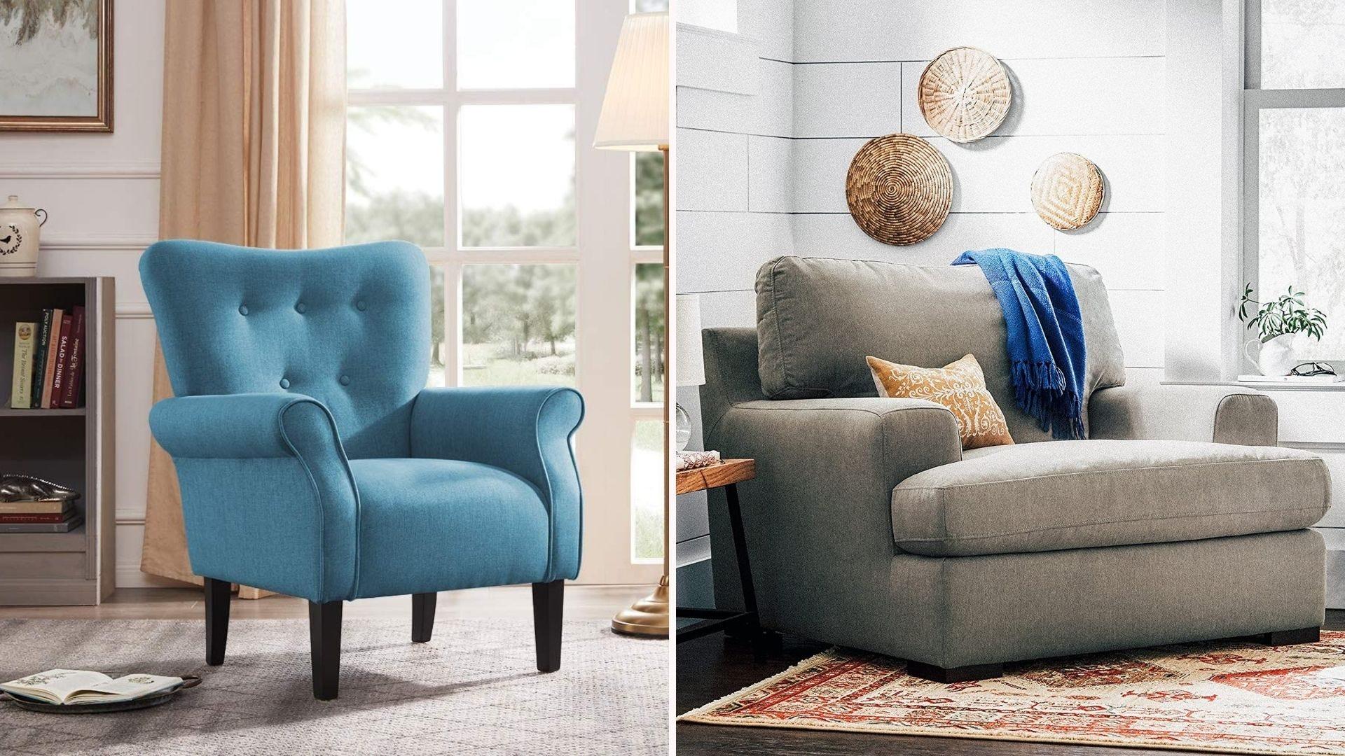 A blue accent chair; an oversized gray chair