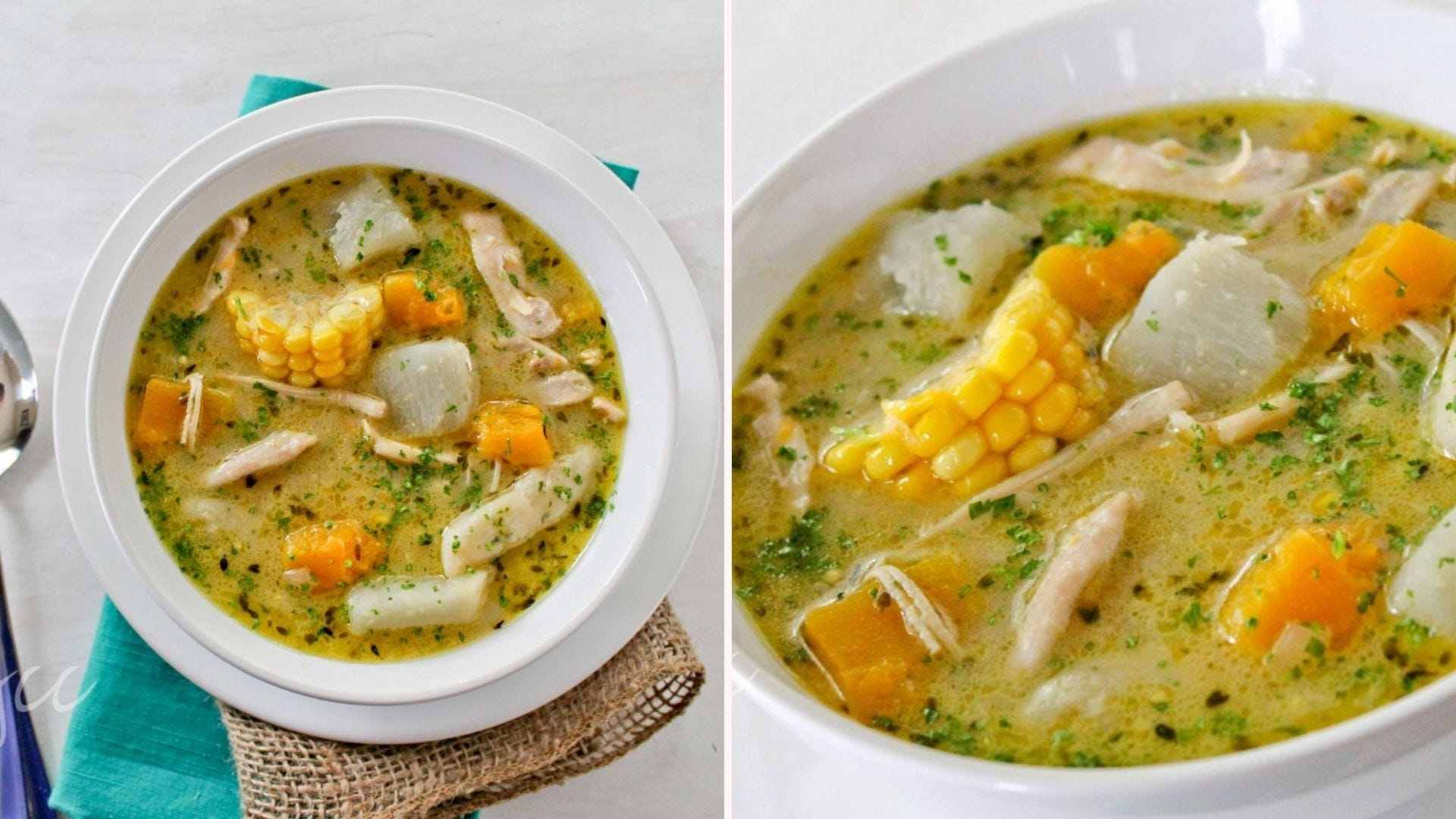 Two bowls of chicken soup with corn, carrots, and dumplings