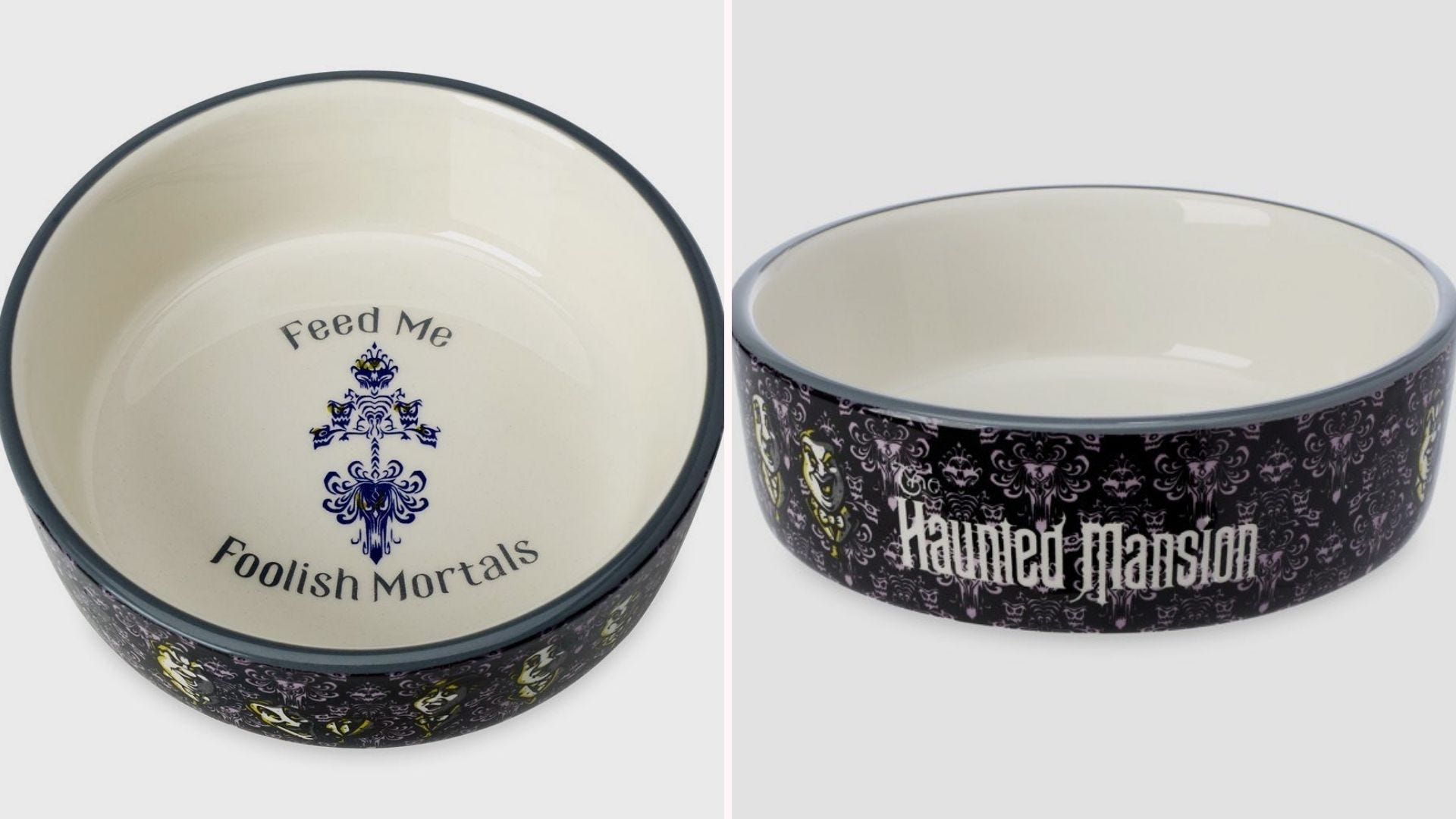 """Top and side views of a Haunted Mansion pet bowl reading """"Feed Me Foolish Mortals"""""""