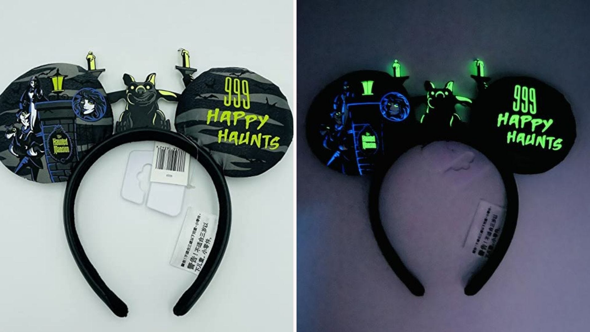 A pair of Haunted Mansion-themed Mickey Mouse ears
