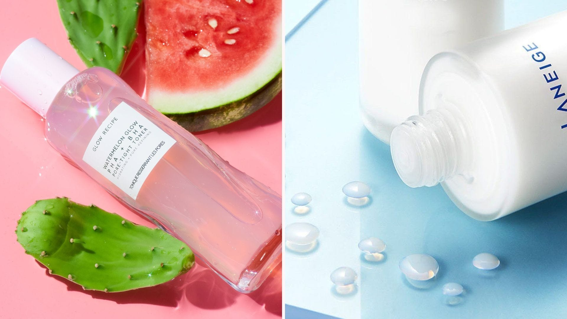 A pink bottle of toner with watermelon slices; a clear bottle with milky liquid drops