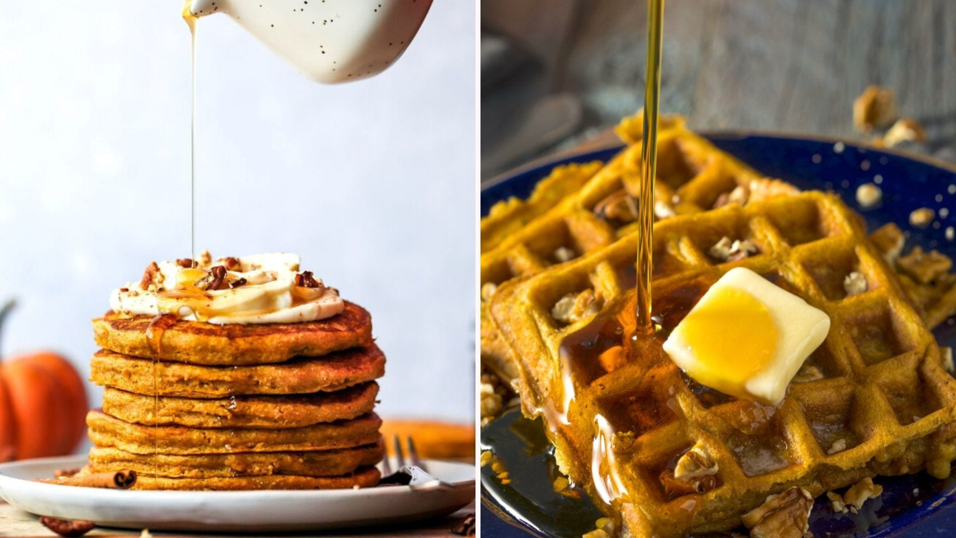 A stack of pancakes; a plate of two waffles