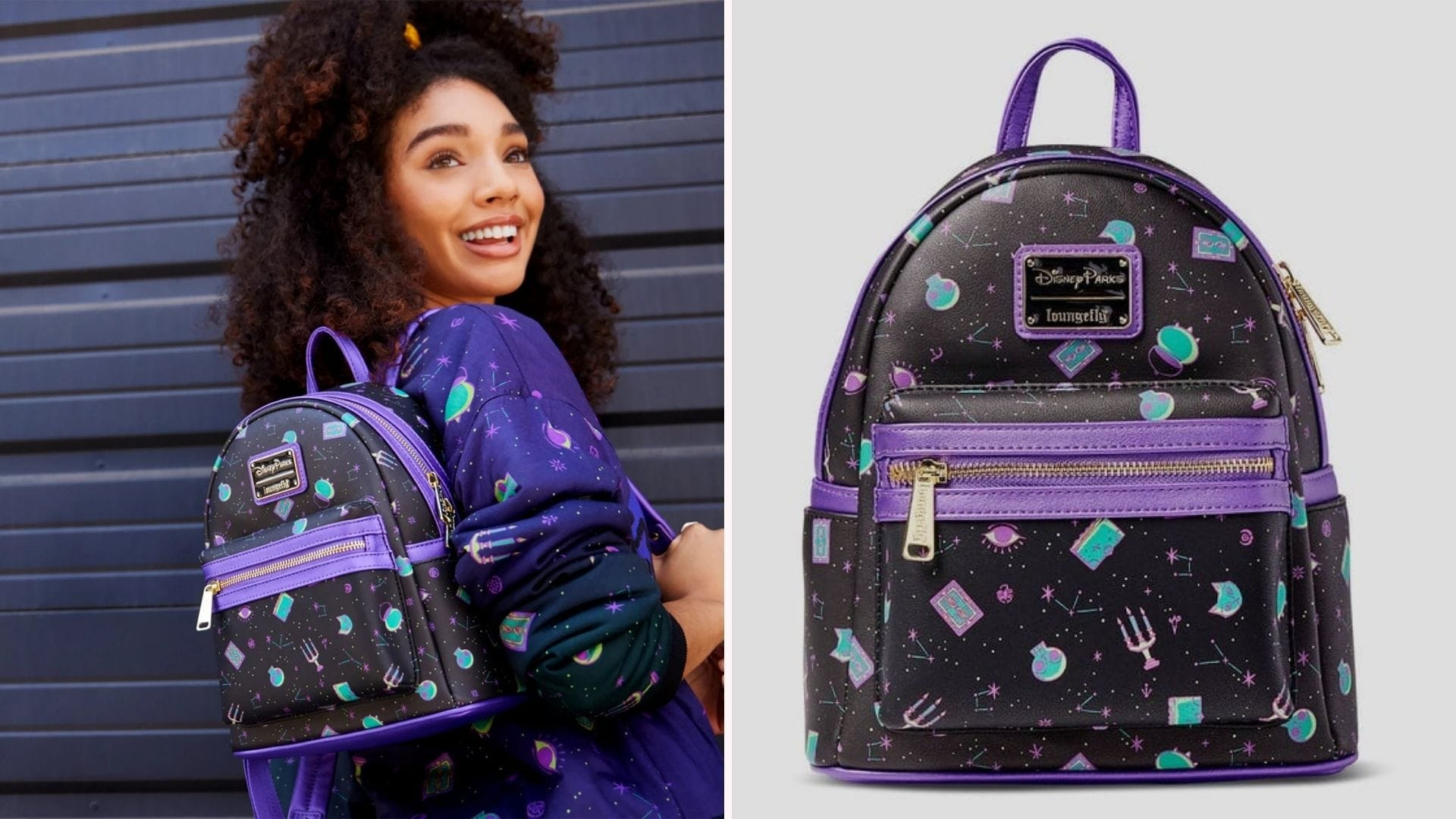 A woman wearing a Hocus Pocus themed backpack; closer view of the same backpack