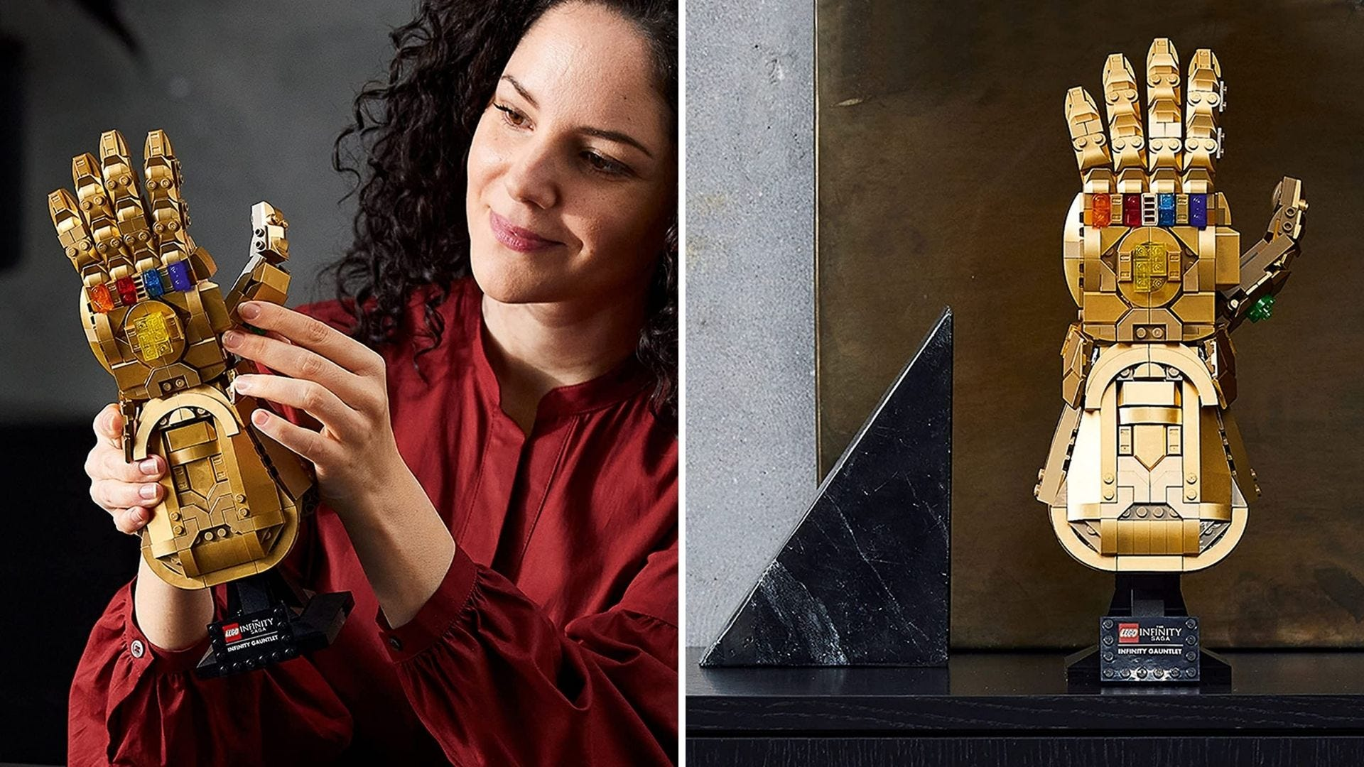 A woman holds a LEGO model of Thanos's Infinity Gauntlet