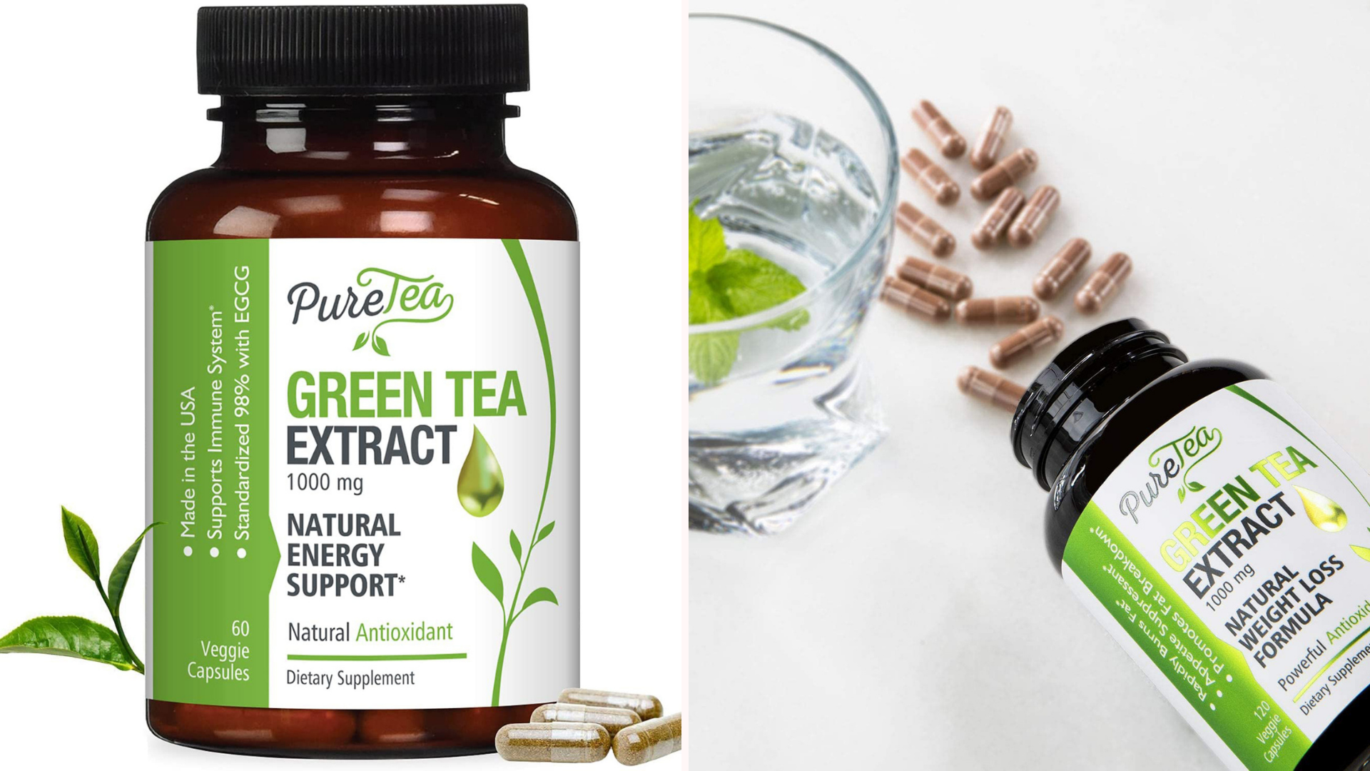 two-fold image of green tea extract supplements by Pure tea with a product shot on the left and an overhead shot of an open bottle laying flat on a white surface with capsules next to it as well as a glass of water with mint
