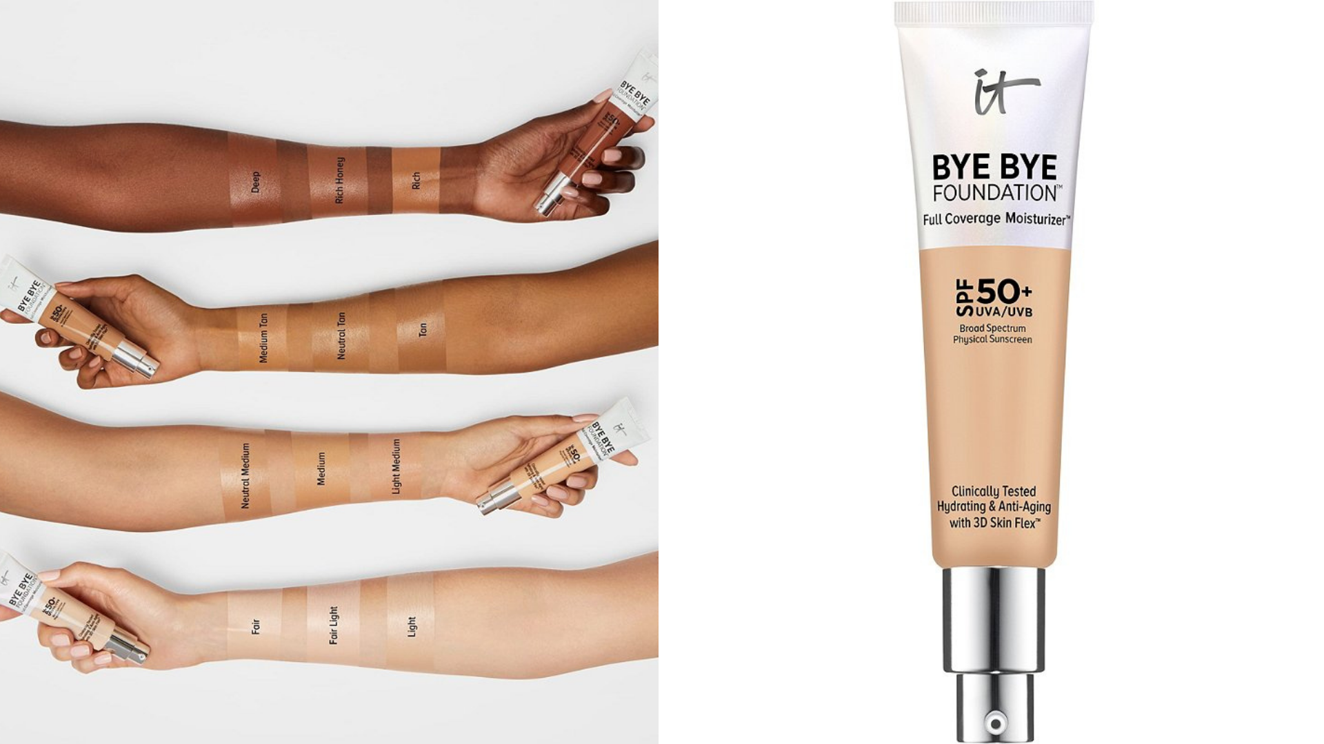 four arms of different skin tones demonstrate the shade range of a foundation.