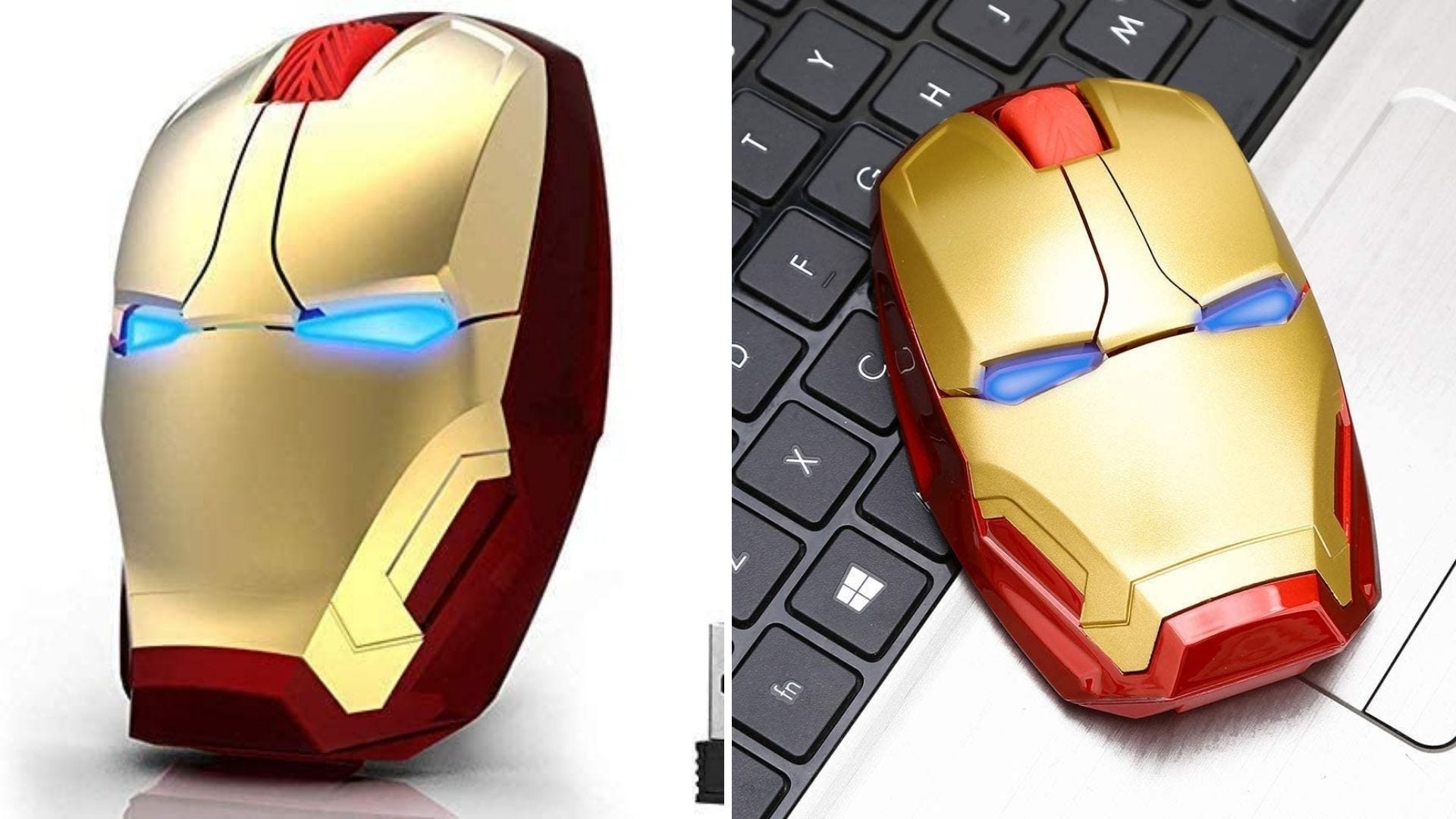Two photos of a computer mouse shaped like Iron Man's helmet