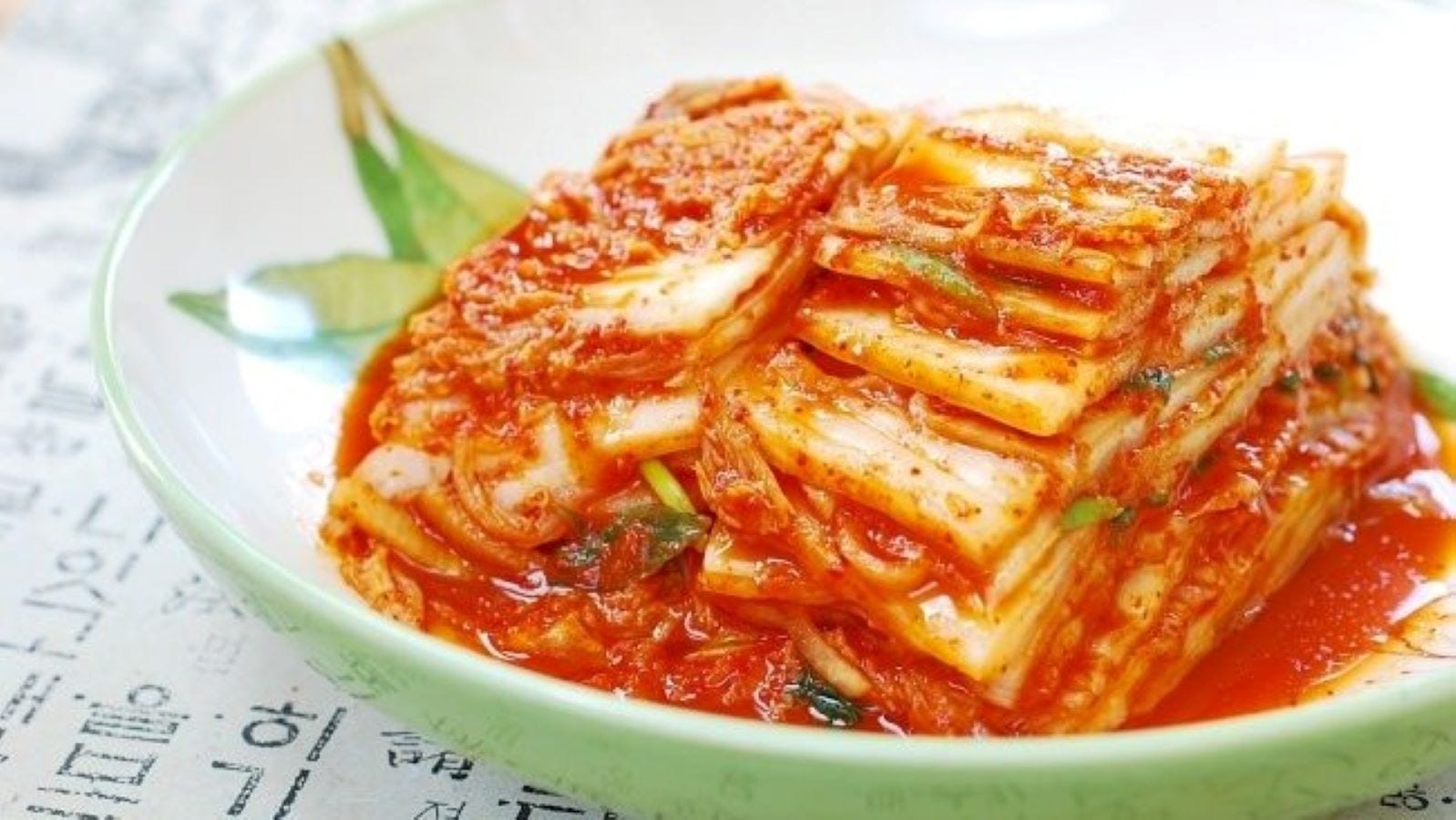 A plate of vegan kimchi.