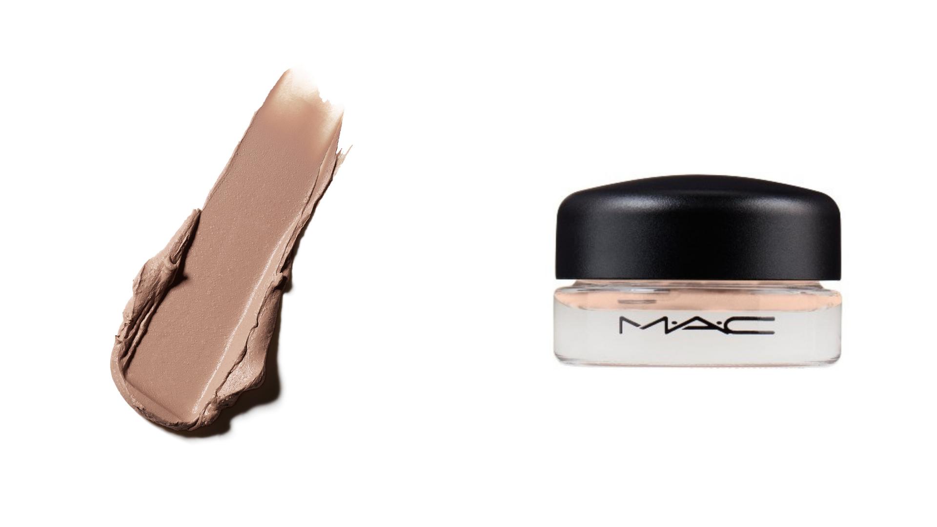 Two photos show a streak of cream eyeshadow and a pot of cream eyeshadow