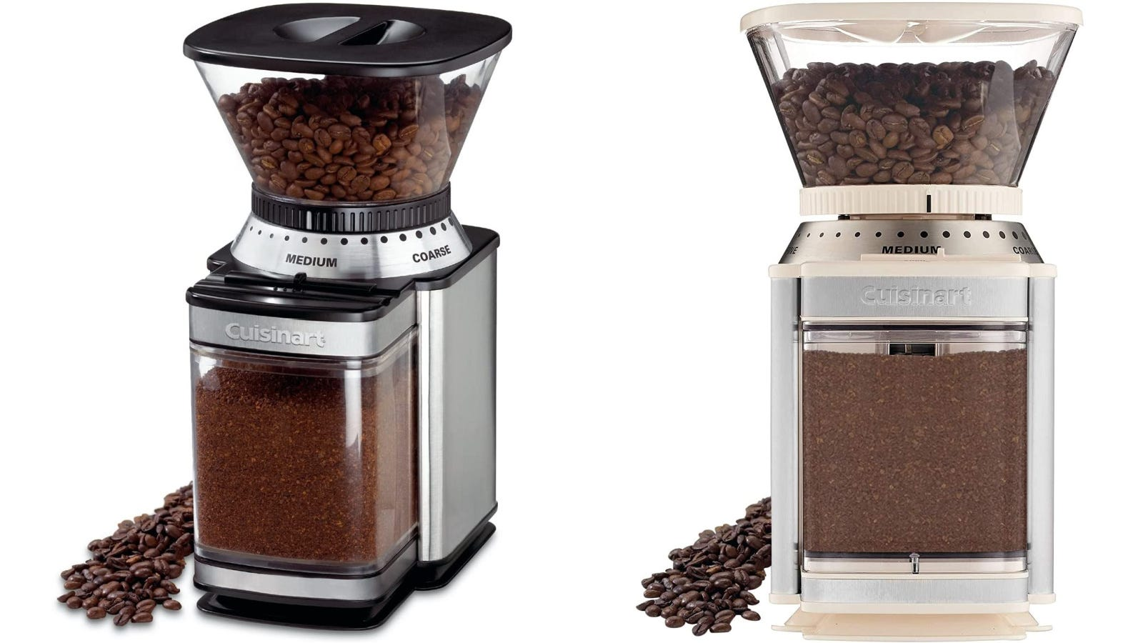 Two images displaying the Cuisinart Supreme Grind Automatic Burr Mill in both black and and creme colors.