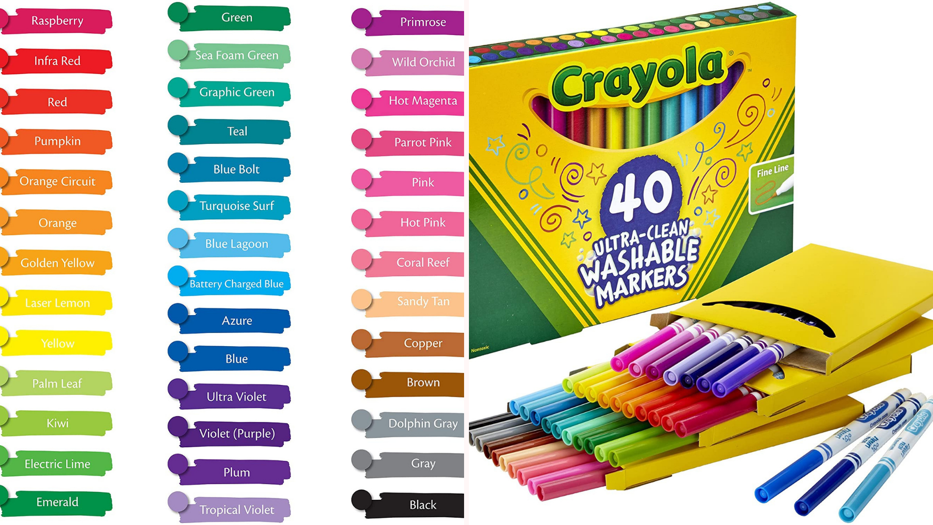 Color swatches show all the shades in a pack of markers.