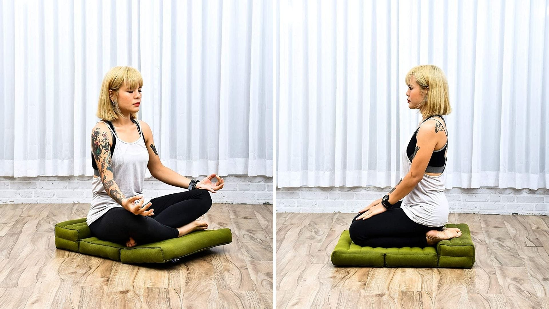 Someone meditates on a floor pillow