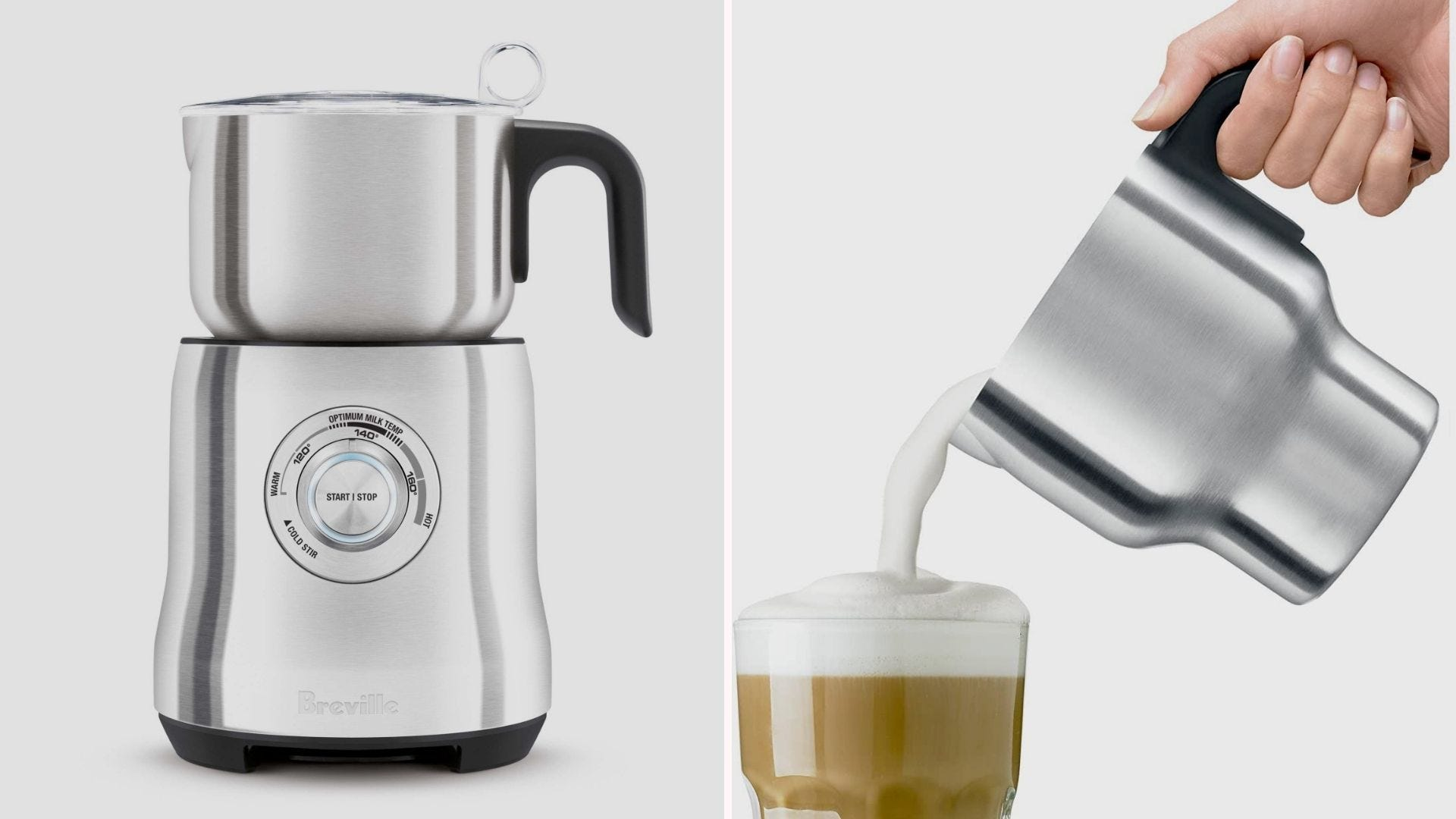 A silver milk frother; a hand pouring frothed milk into a cup of coffee