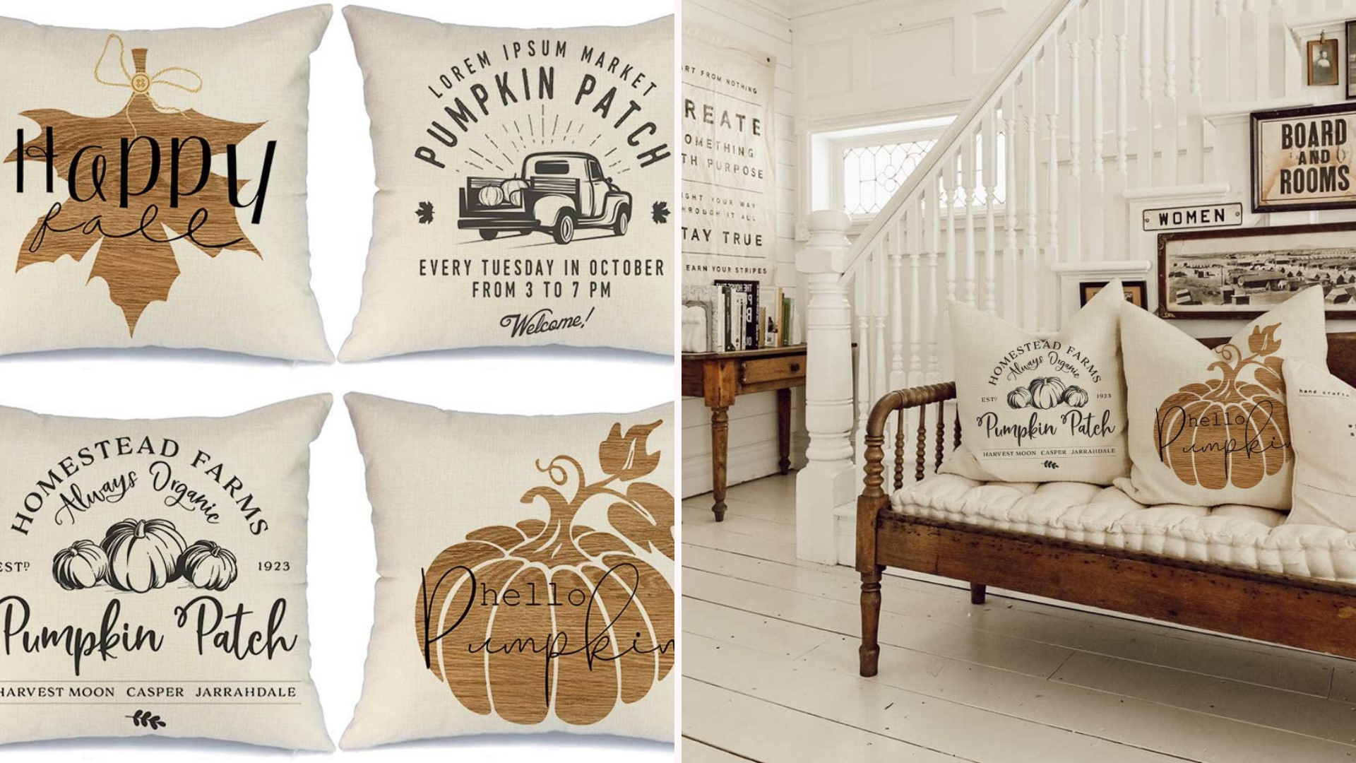 Fall themed throw pillows sit on a bench.