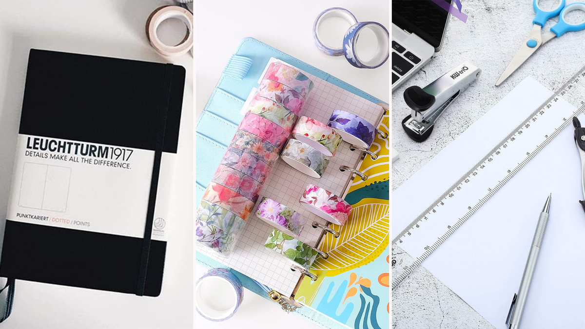 A black journal, floral washi tape, and two rulers.