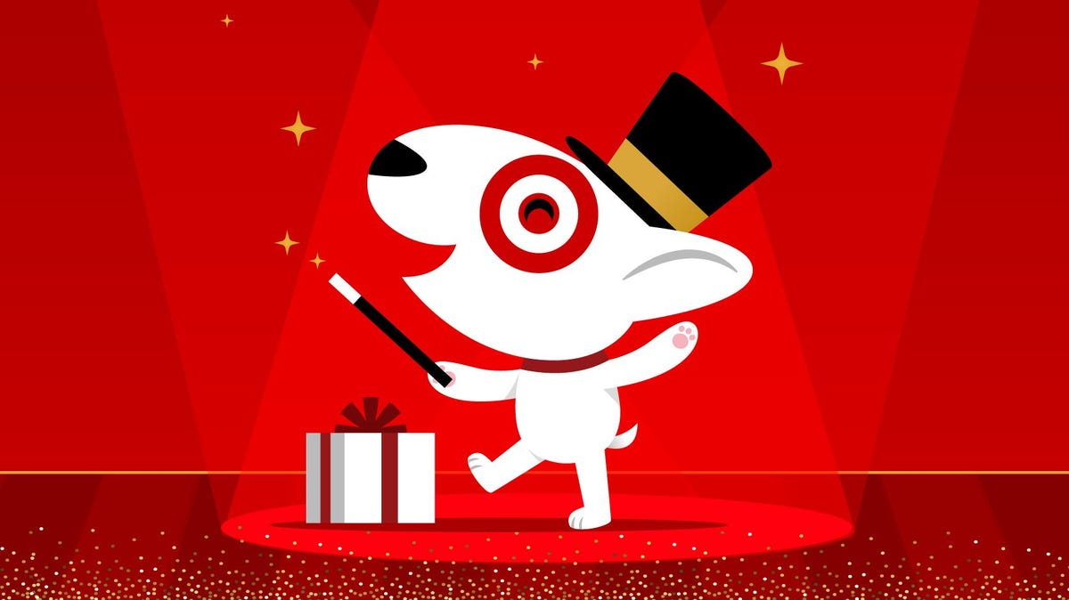An animated dog with a magic wand taps a present.