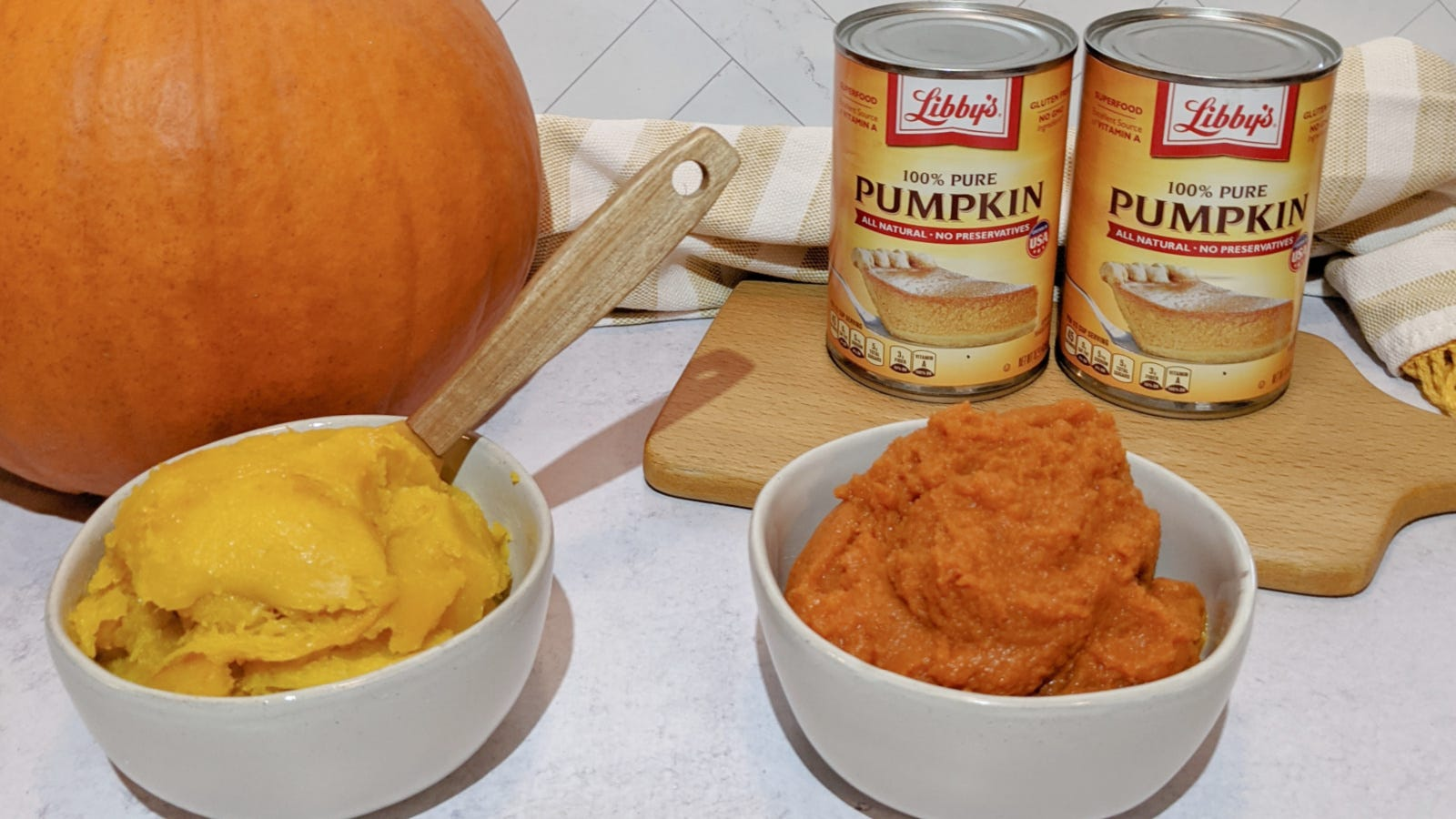 An image displaying the noticeable differences in canned pumpkin and home roasted and purreed pumpkin.