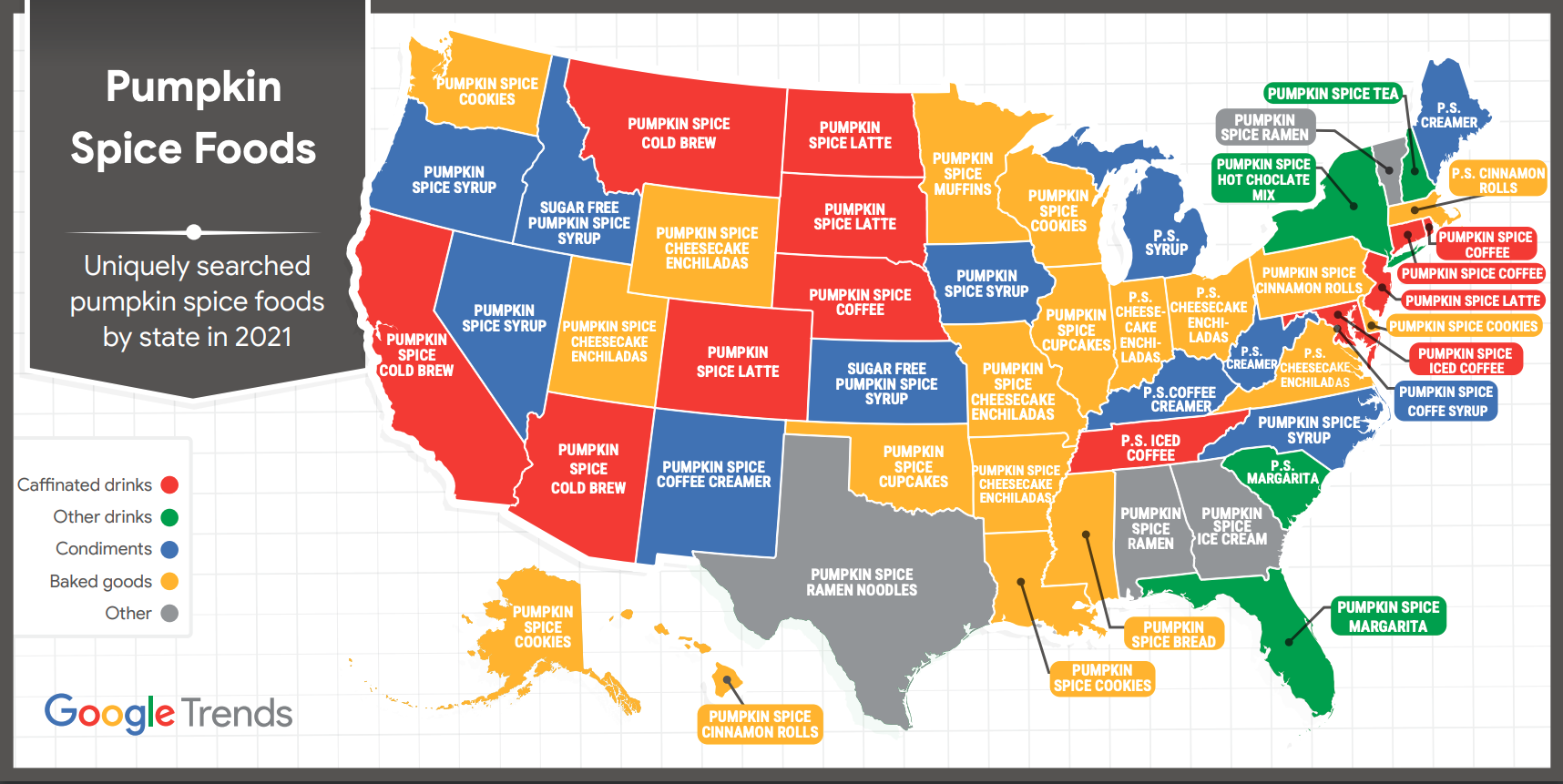 A map shows the most searched for pumpkin spice items in the country.