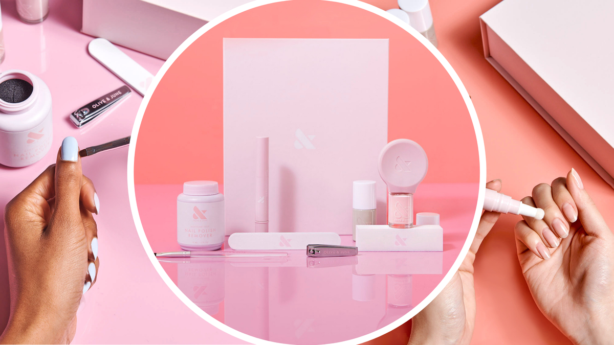 A manicure kit features remover, a nail clipper, file, and nail polish.