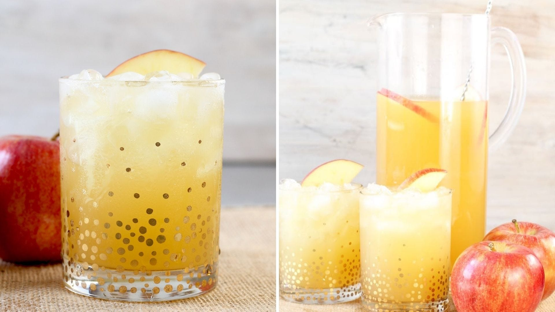 Festive drink glasses with a yellow punch inside