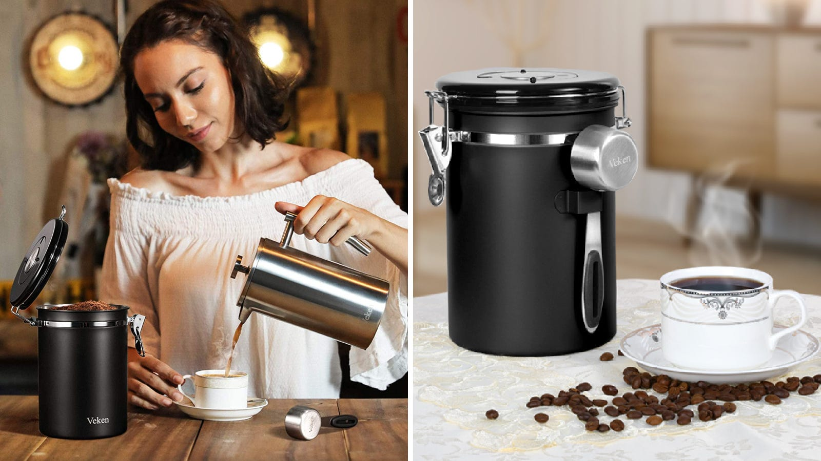 Two images displaying the Veken coffee vault canister. The left image displays a young woman filling a cup of with hot pressed coffee with the canister next to her and the right image displays the canister next to a hot cup of coffee.