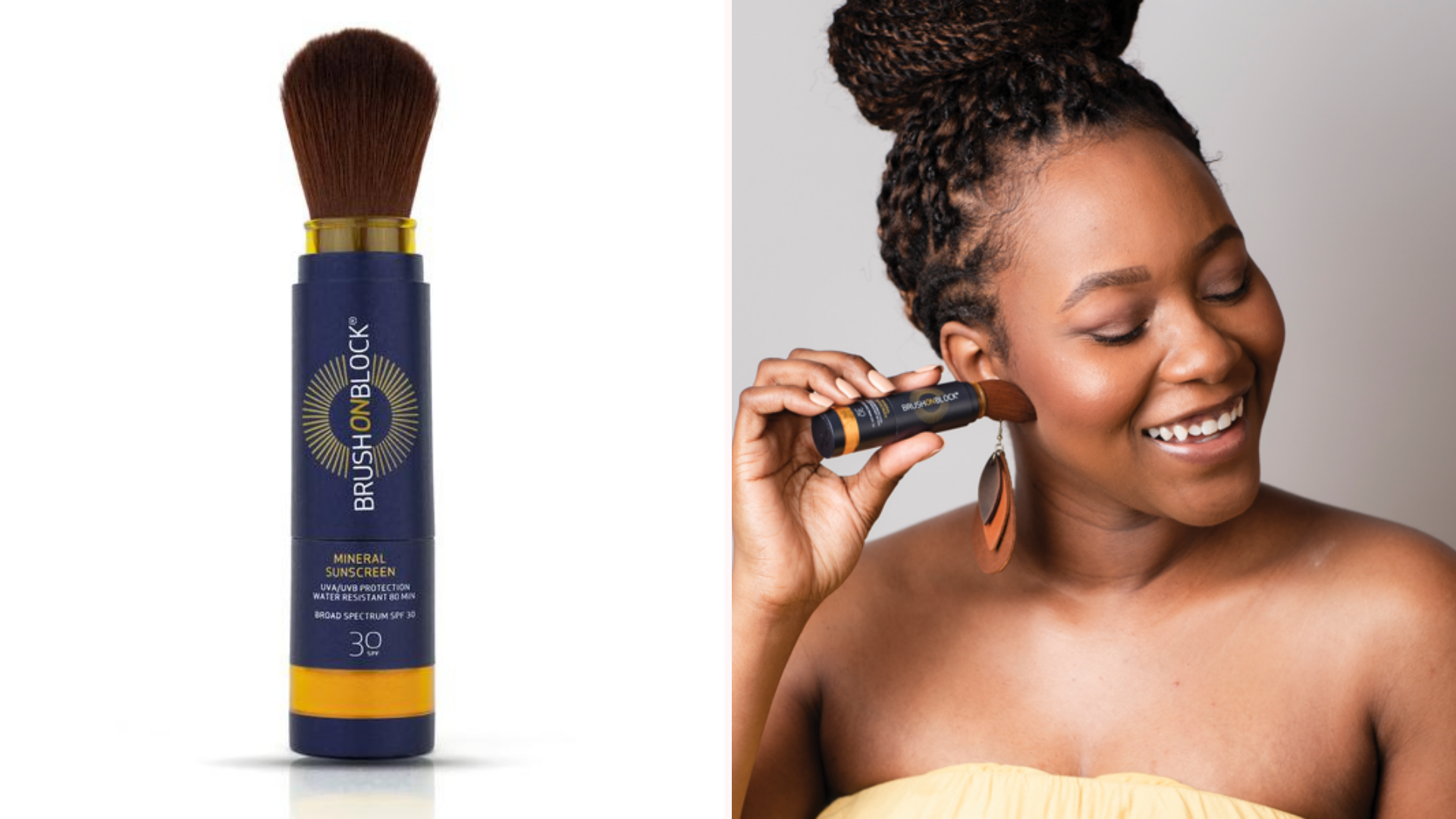 A brush on block product, and a woman sweeping brush on block onto her face.