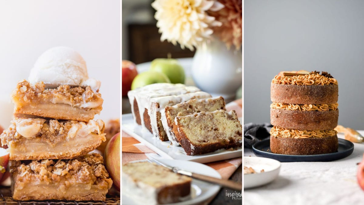 A stack of apple bars; slices of apple cinnamon loaf; a three-layer apple cake