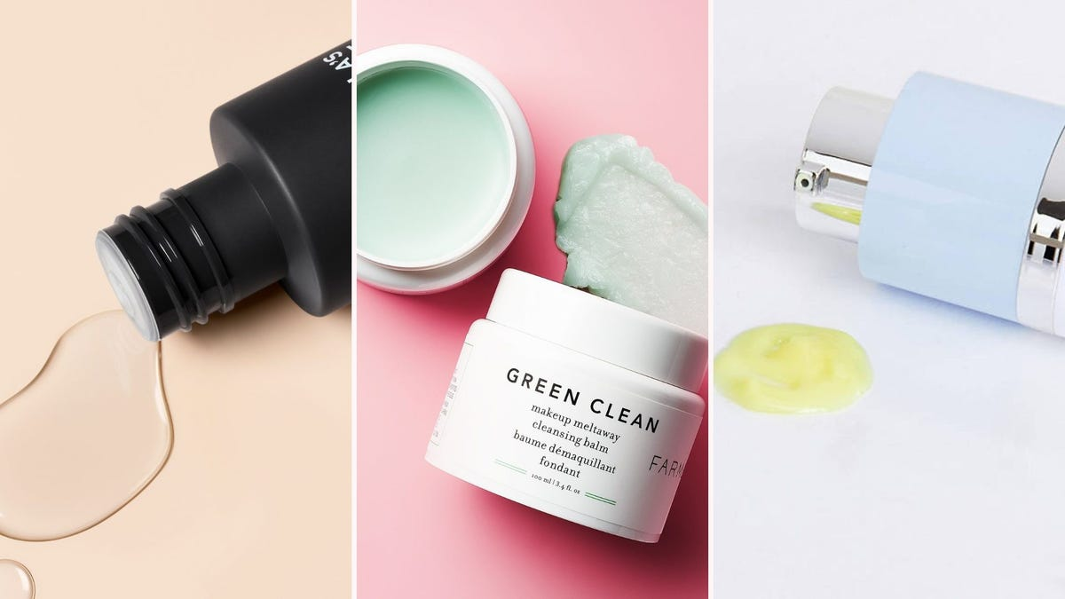 A bottle with clear liquid; a tub of green cleansing balm; a bottle with yellow lgel