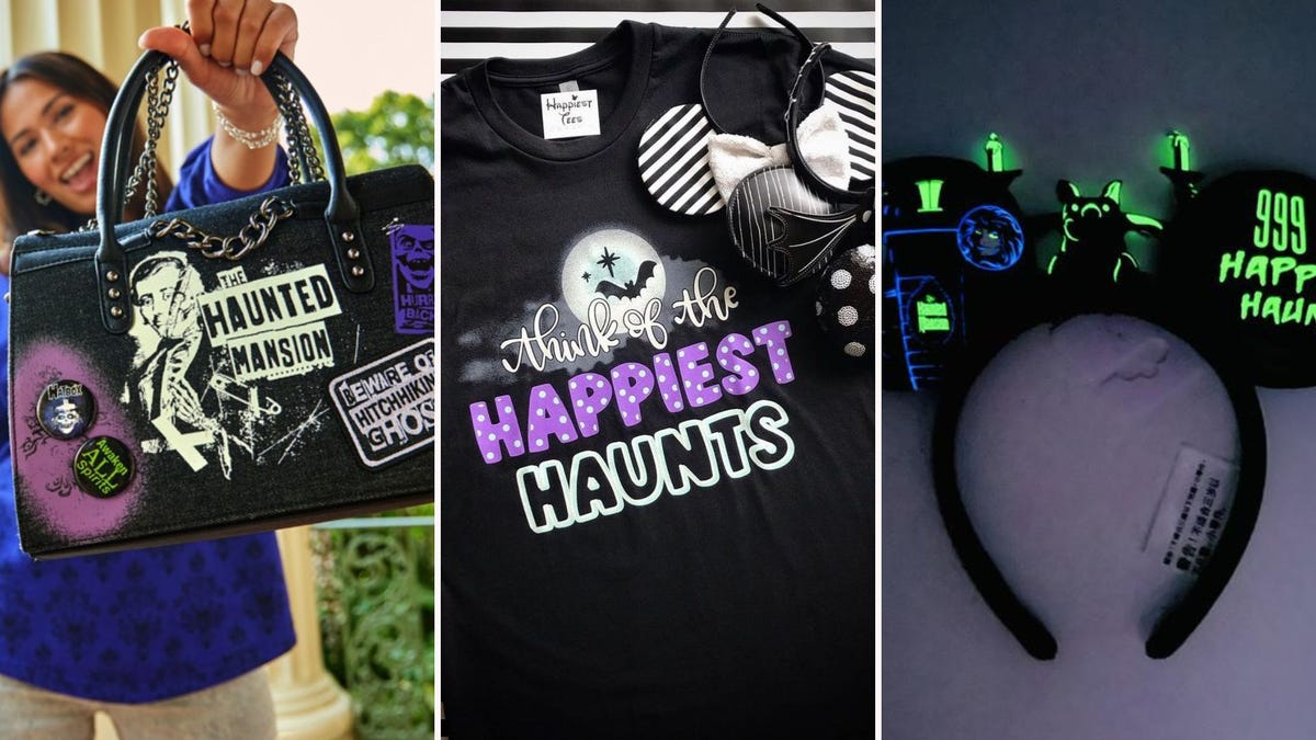 A Haunted Mansion themed purse, T-shirt, and Mickey Mouse ears