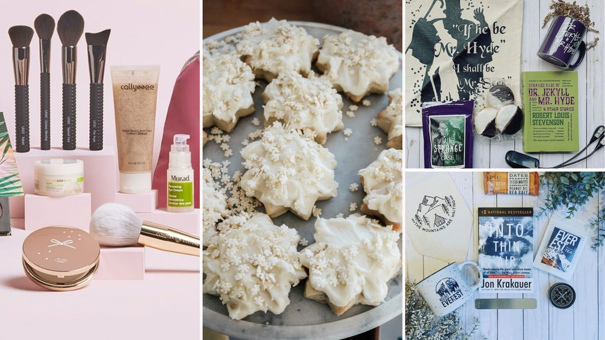 A makeup kit; a plate of snowflake-shaped cookies; two book subscription kits